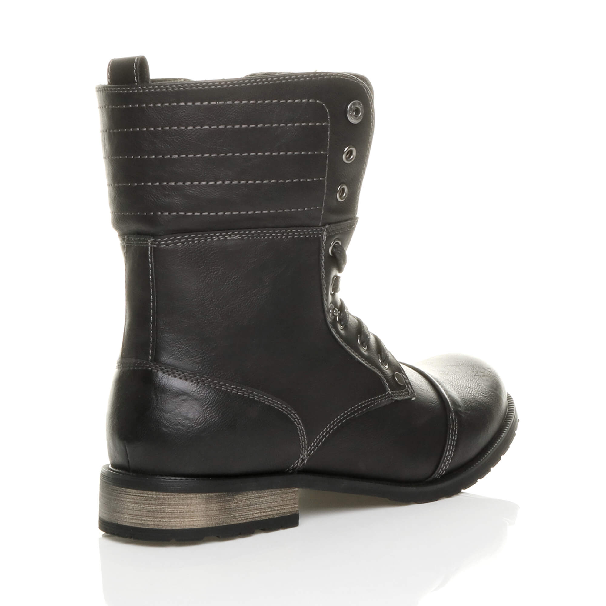 Mens-lace-up-low-heel-flat-fold-over-padded-cuff-military-ankle-boots-size miniatuur 5