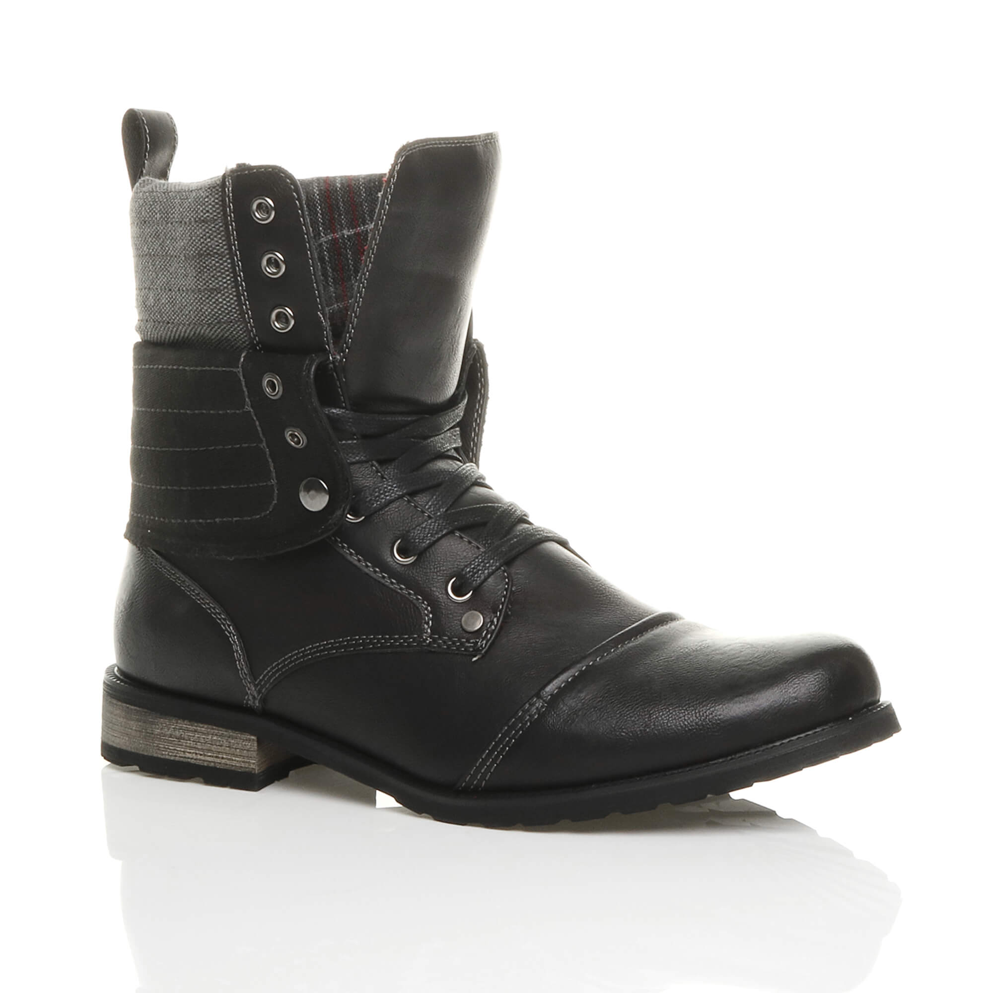 Mens-lace-up-low-heel-flat-fold-over-padded-cuff-military-ankle-boots-size miniatuur 6