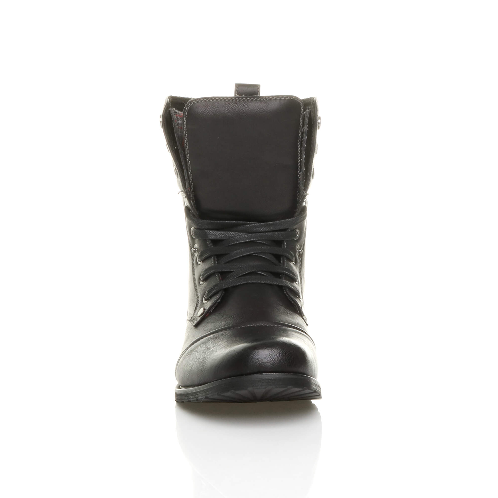 Mens-lace-up-low-heel-flat-fold-over-padded-cuff-military-ankle-boots-size miniatuur 7