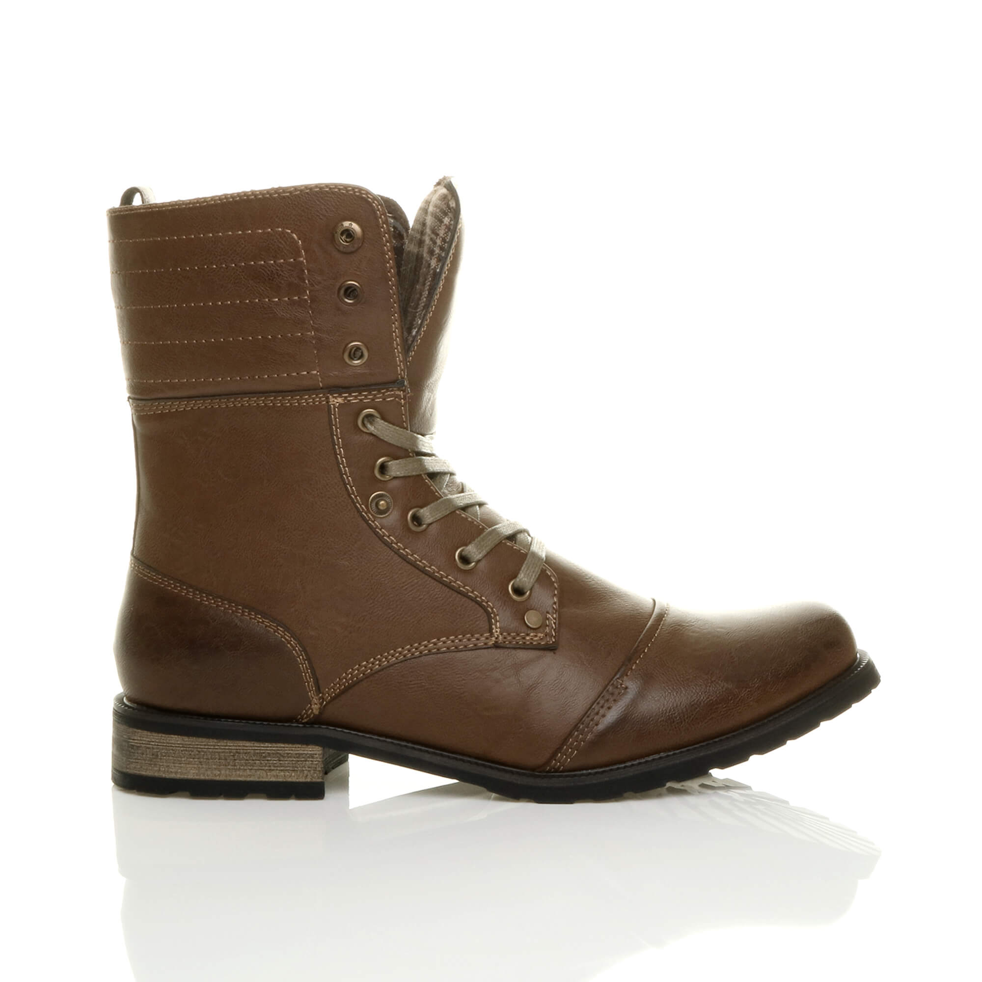Mens-lace-up-low-heel-flat-fold-over-padded-cuff-military-ankle-boots-size miniatuur 11
