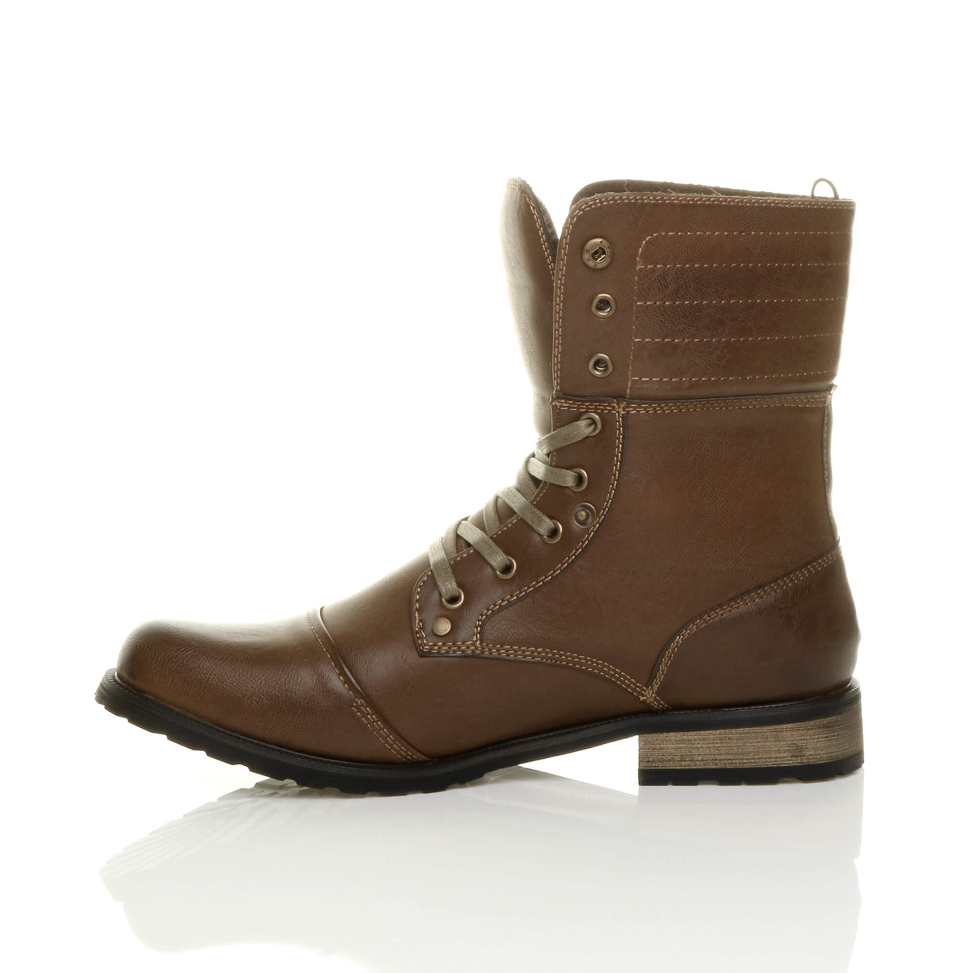 Mens-lace-up-low-heel-flat-fold-over-padded-cuff-military-ankle-boots-size miniatuur 12