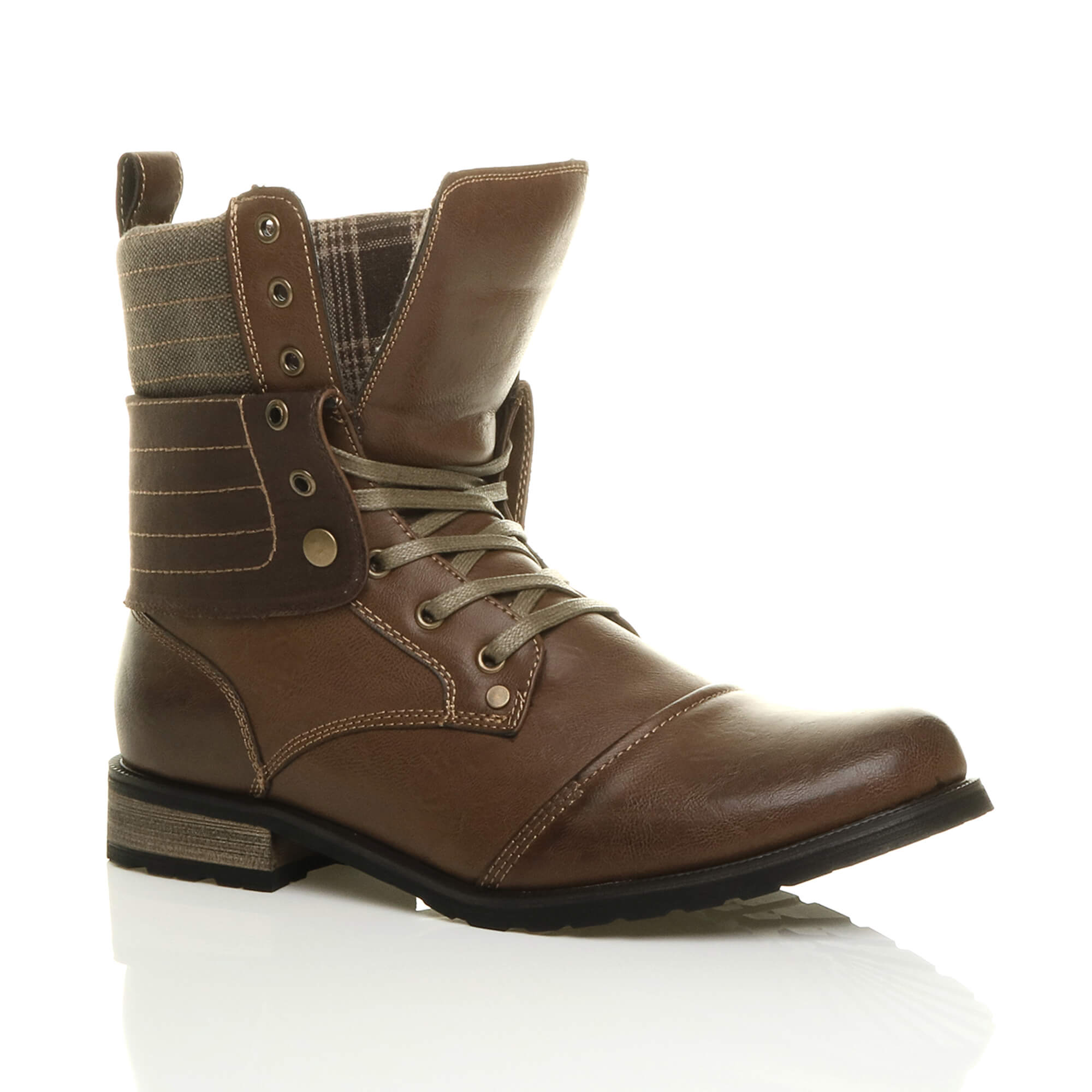 Mens-lace-up-low-heel-flat-fold-over-padded-cuff-military-ankle-boots-size miniatuur 14
