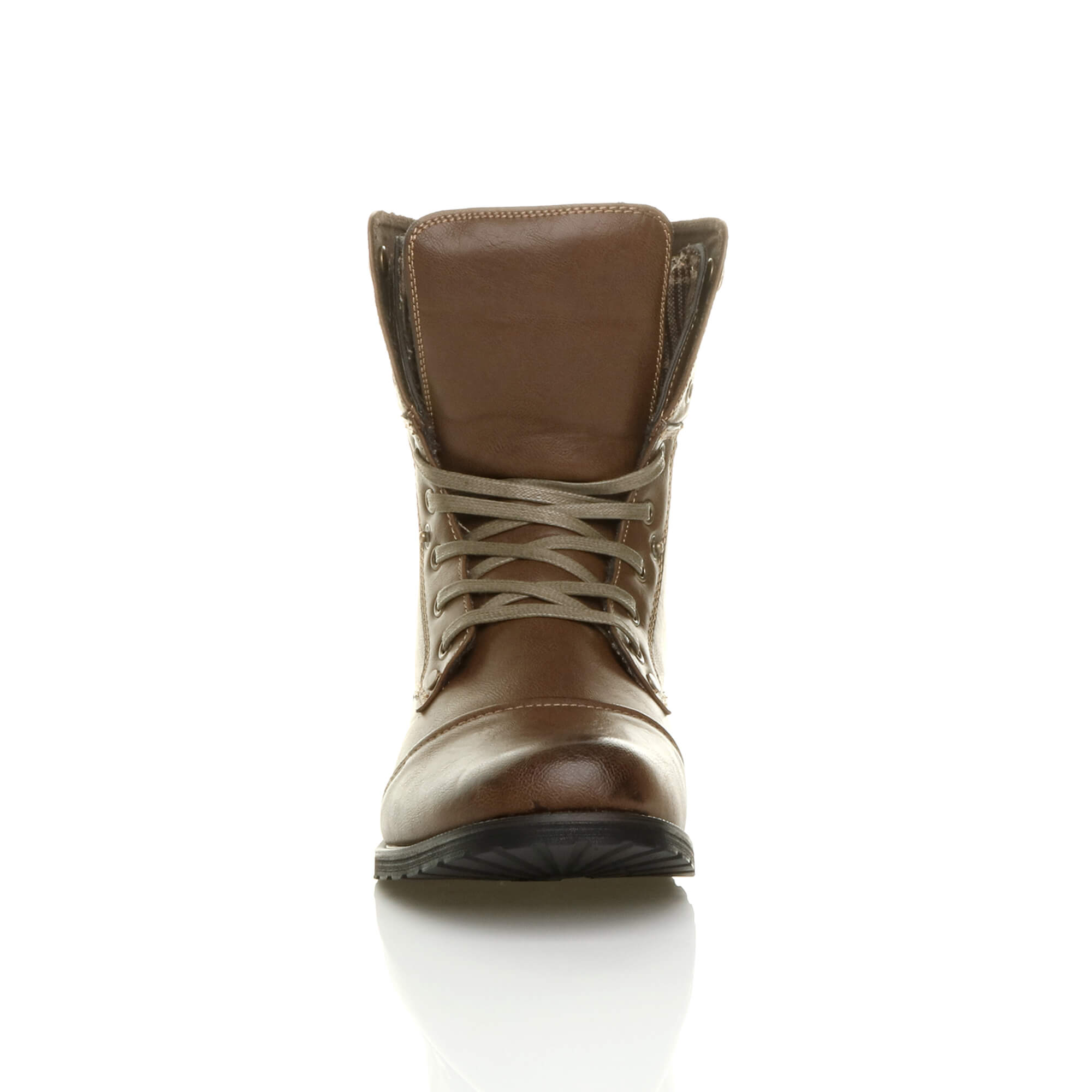 Mens-lace-up-low-heel-flat-fold-over-padded-cuff-military-ankle-boots-size miniatuur 15