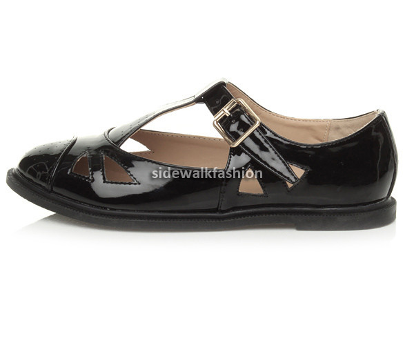 Womens-ladies-flat-cut-out-mary-jane-retro-geek-brogue-school-pumps-shoes-size