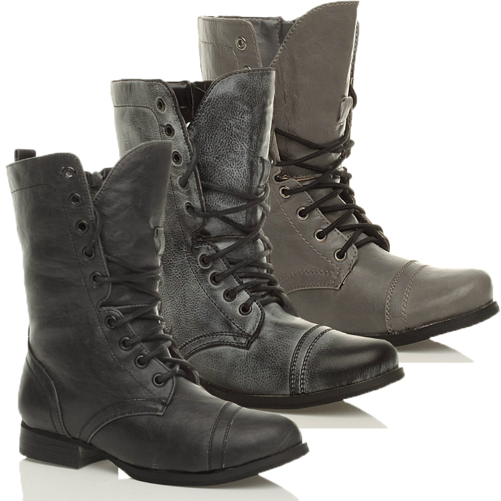Ajvani Womens Ladies Flat Low Heel lace up Zip Combat Army Military Ankle Boots Size Women Lace up Military Combat Ankle Boots out of 5 stars Womens ladies low heel flat lace up knitted collar cuff zip combat military army ankle boots size4/5.