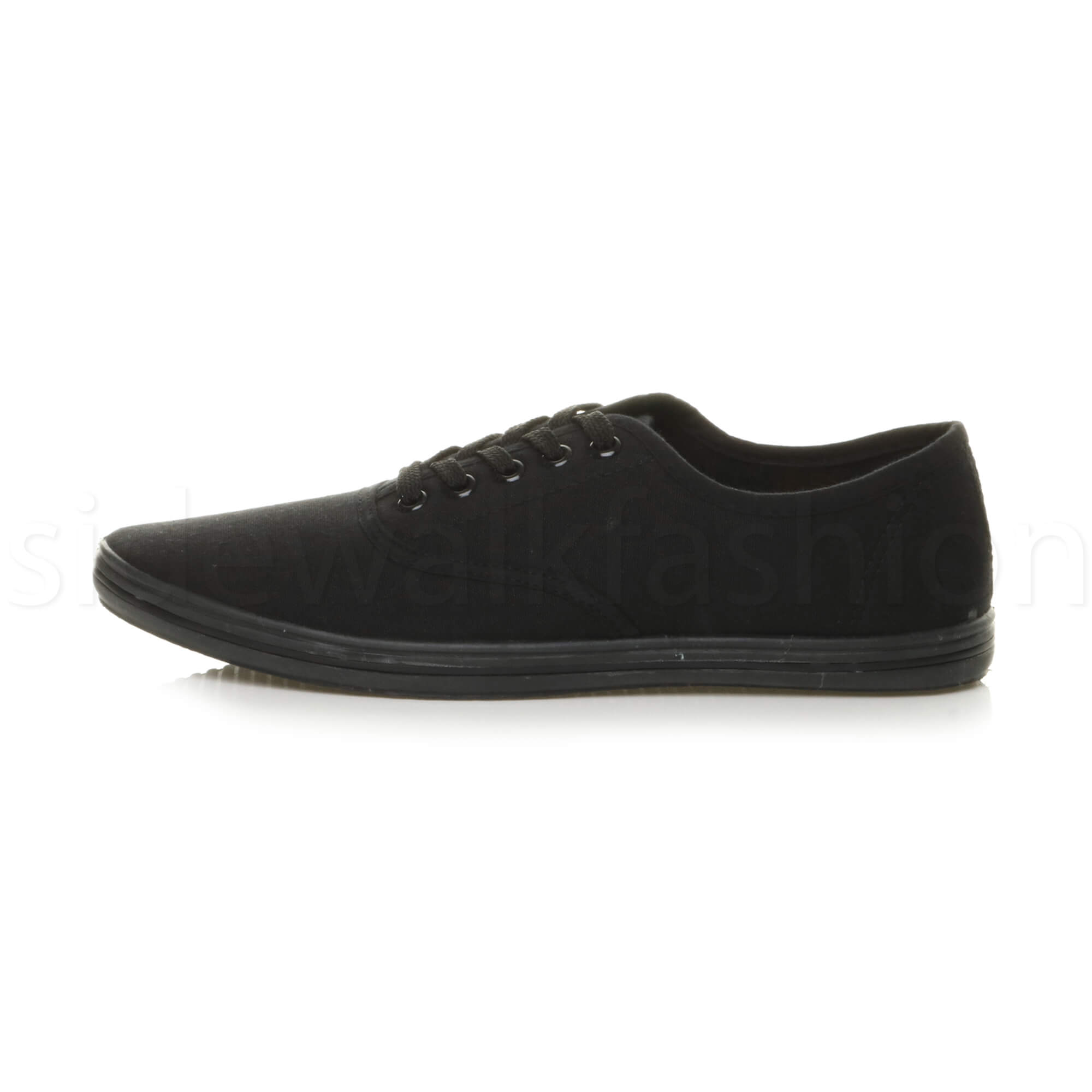 Mens-canvas-trainers-plimsoles-plimsolls-shoes-lace-up-pumps-size thumbnail 3
