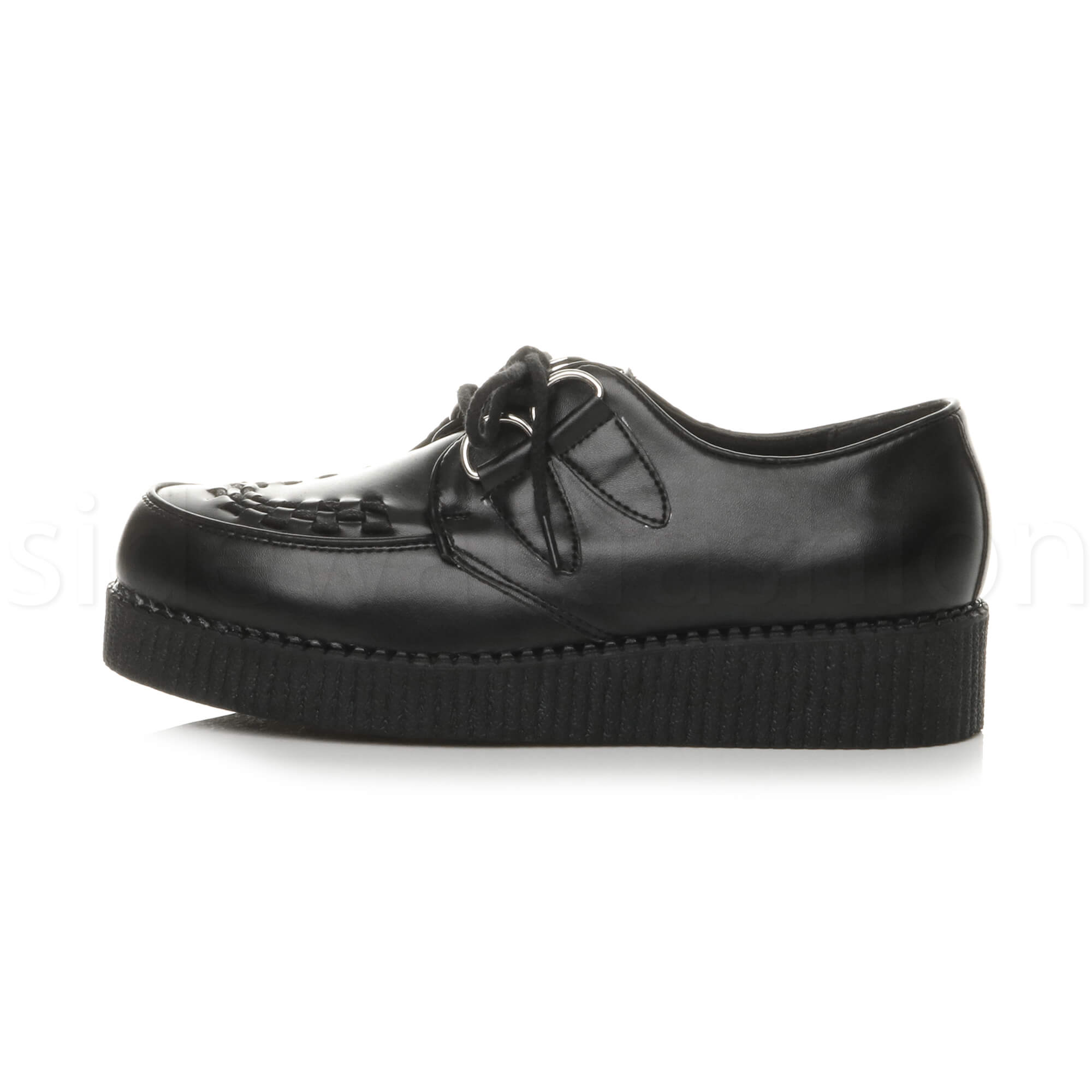 Details about Mens lace up grunge goth punk rockabilly brothel creepers teddy boy shoes size