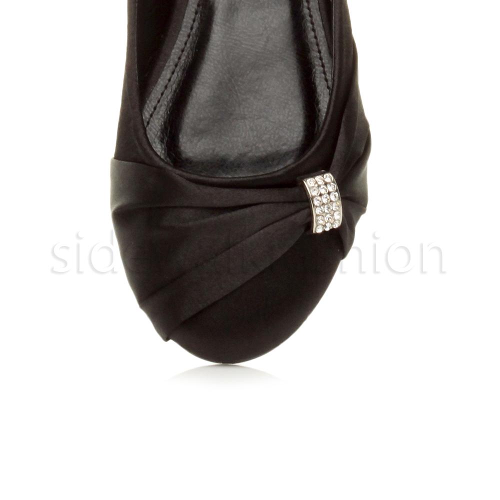 Womens-ladies-flat-wedding-bridesmaid-ruched-diamante-bridal-shoes-pumps-size thumbnail 6