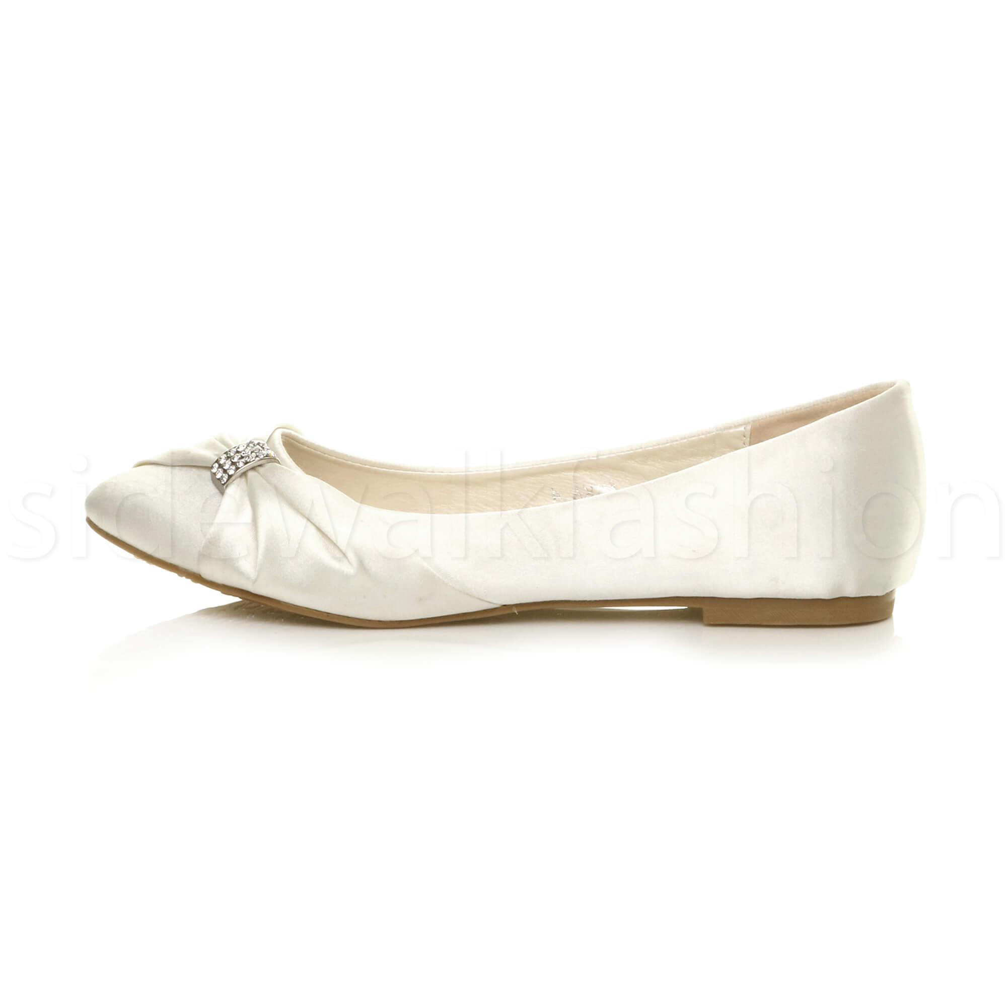 Womens-ladies-flat-wedding-bridesmaid-ruched-diamante-bridal-shoes-pumps-size thumbnail 11