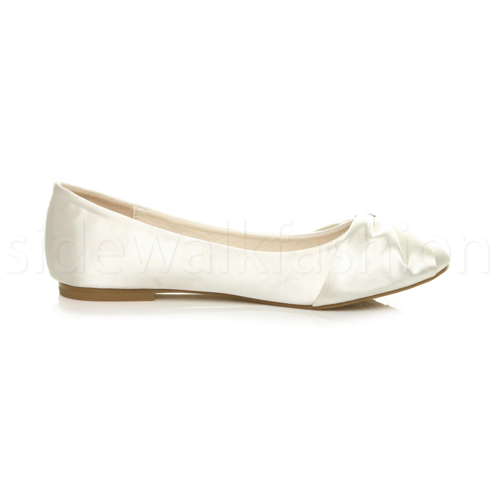 Womens-ladies-flat-wedding-bridesmaid-ruched-diamante-bridal-shoes-pumps-size thumbnail 12