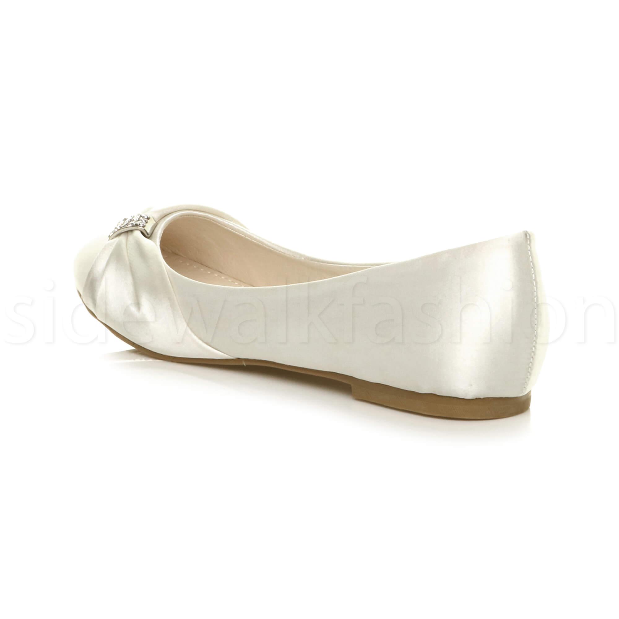 Womens-ladies-flat-wedding-bridesmaid-ruched-diamante-bridal-shoes-pumps-size thumbnail 13