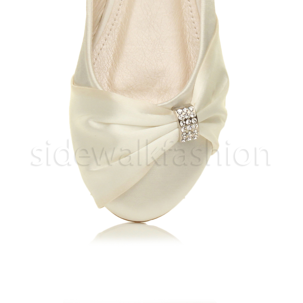 Womens-ladies-flat-wedding-bridesmaid-ruched-diamante-bridal-shoes-pumps-size thumbnail 14