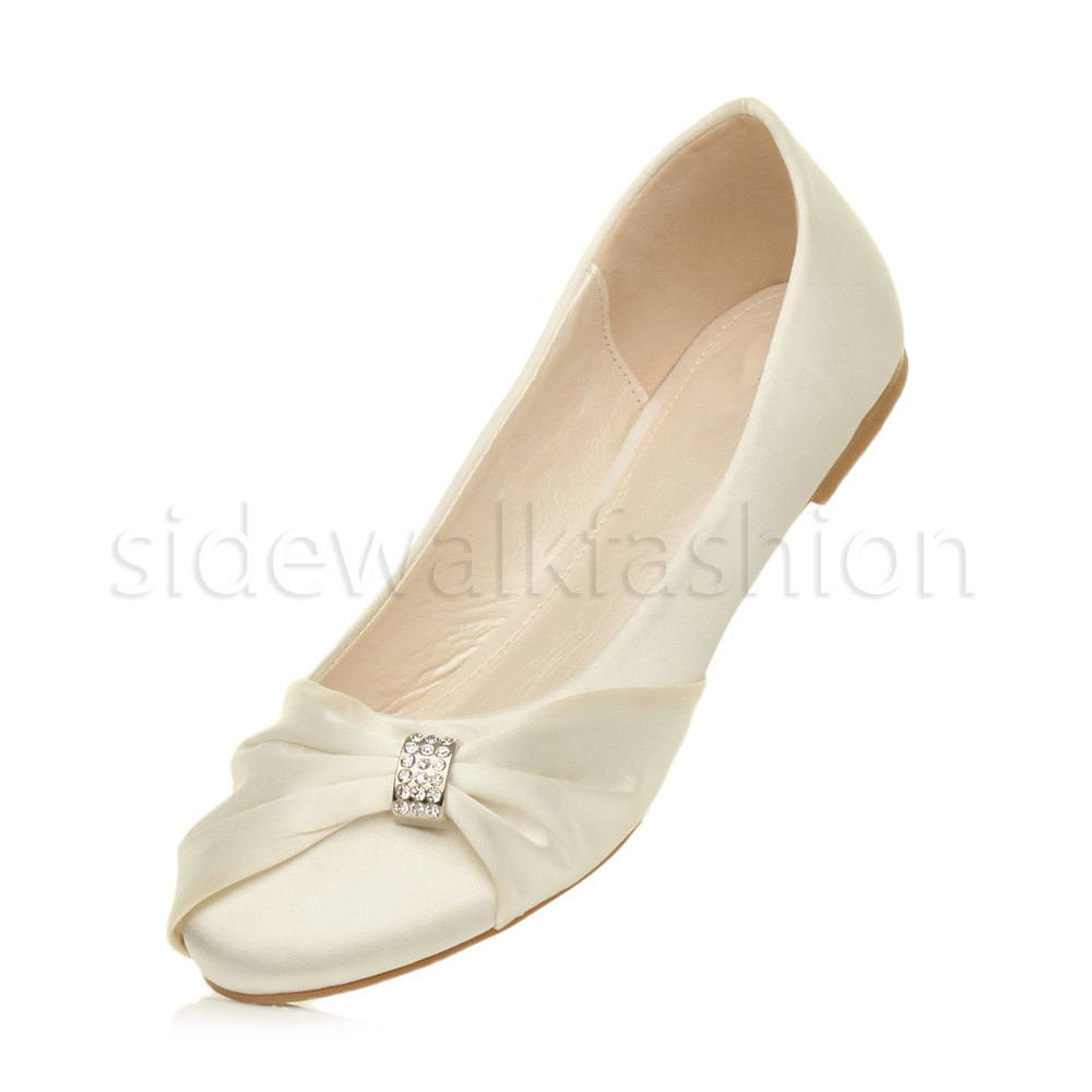 Womens-ladies-flat-wedding-bridesmaid-ruched-diamante-bridal-shoes-pumps-size thumbnail 16