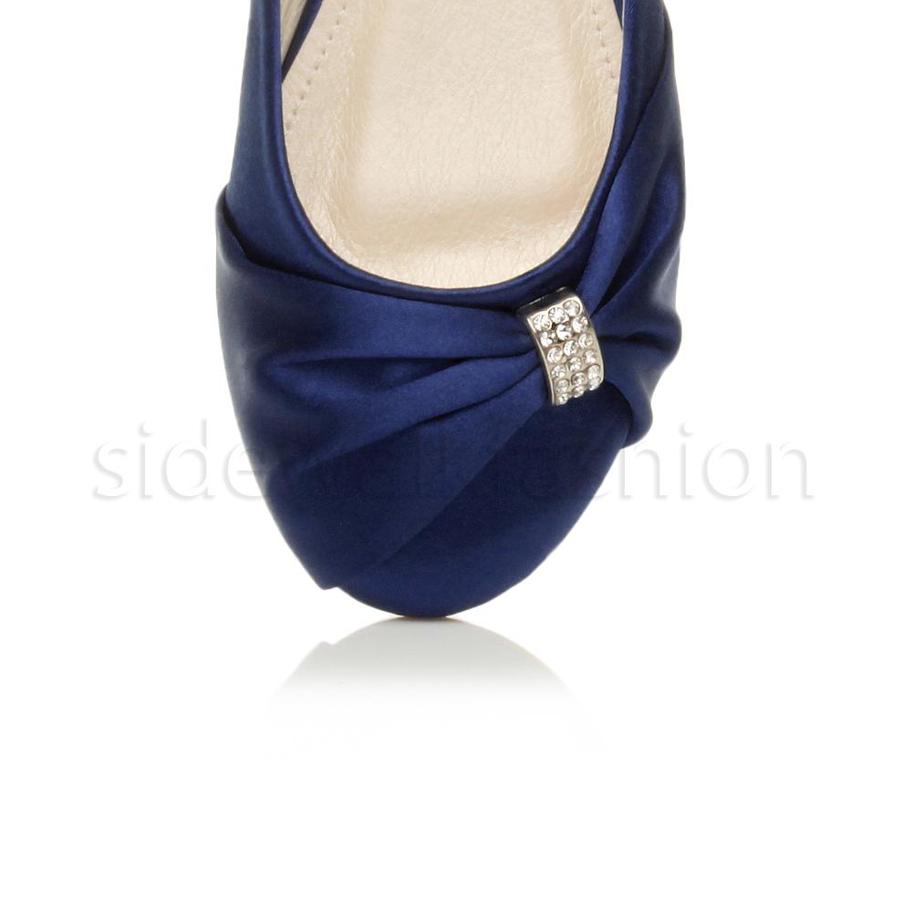 Womens-ladies-flat-wedding-bridesmaid-ruched-diamante-bridal-shoes-pumps-size thumbnail 22