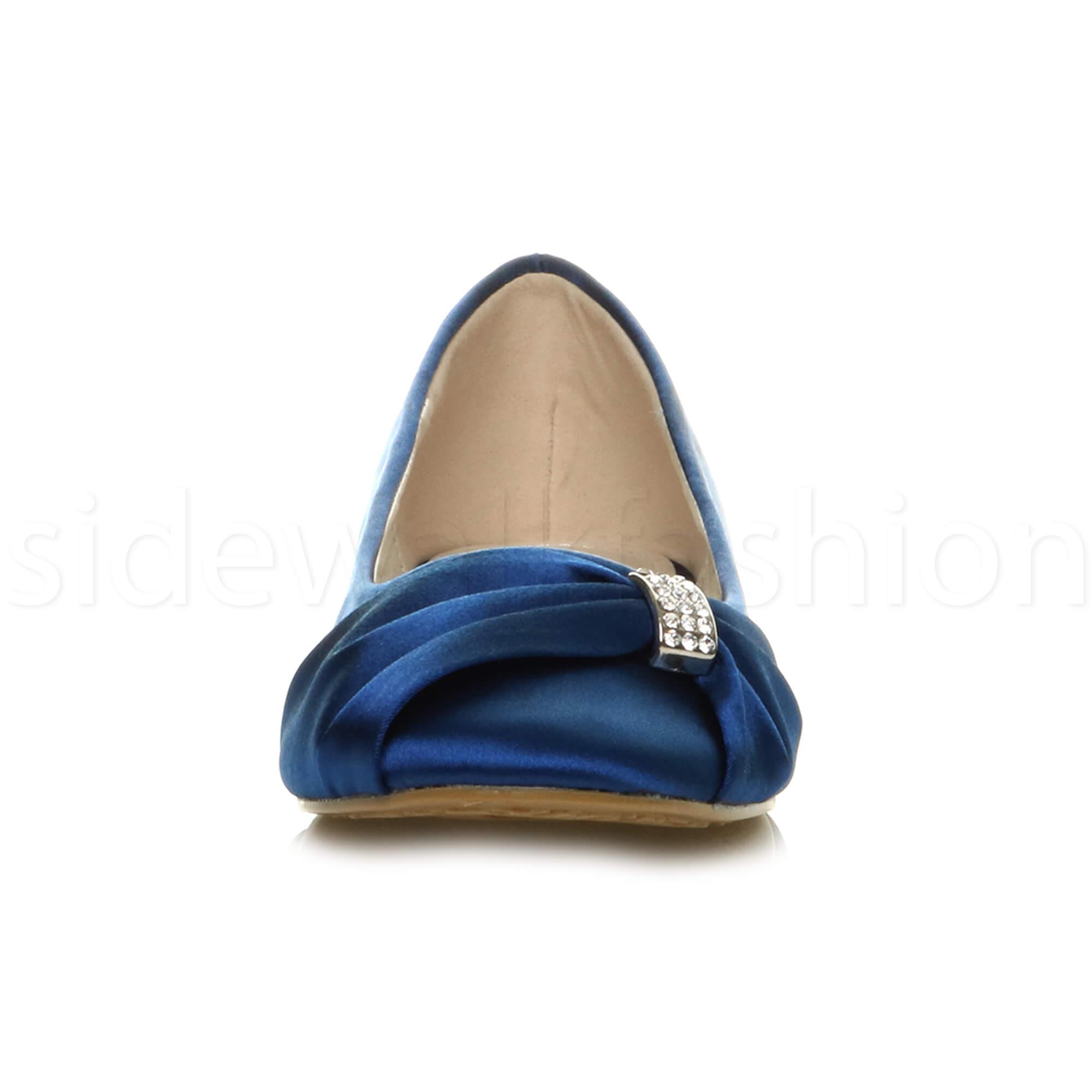Womens-ladies-flat-wedding-bridesmaid-ruched-diamante-bridal-shoes-pumps-size thumbnail 23