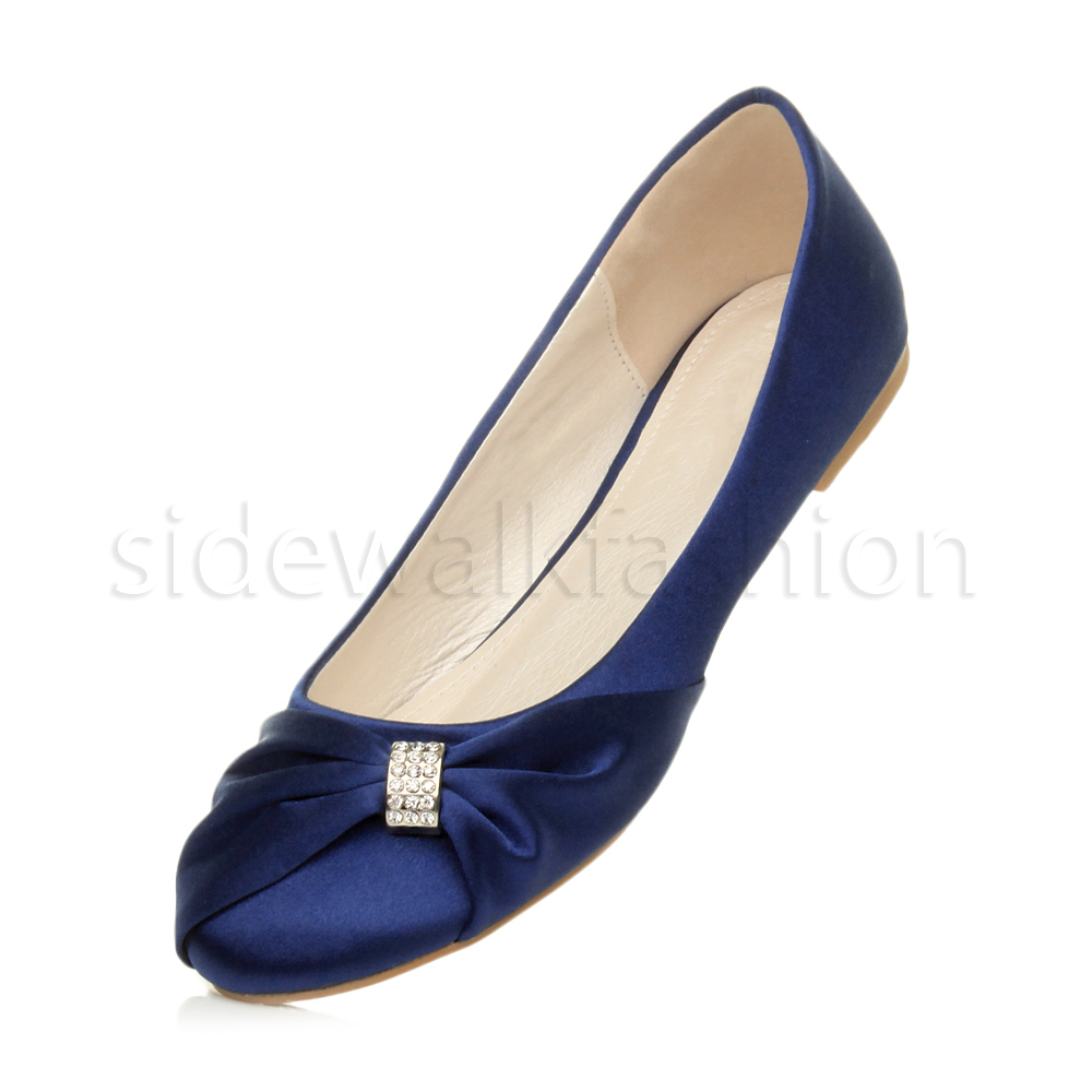 Womens-ladies-flat-wedding-bridesmaid-ruched-diamante-bridal-shoes-pumps-size thumbnail 24