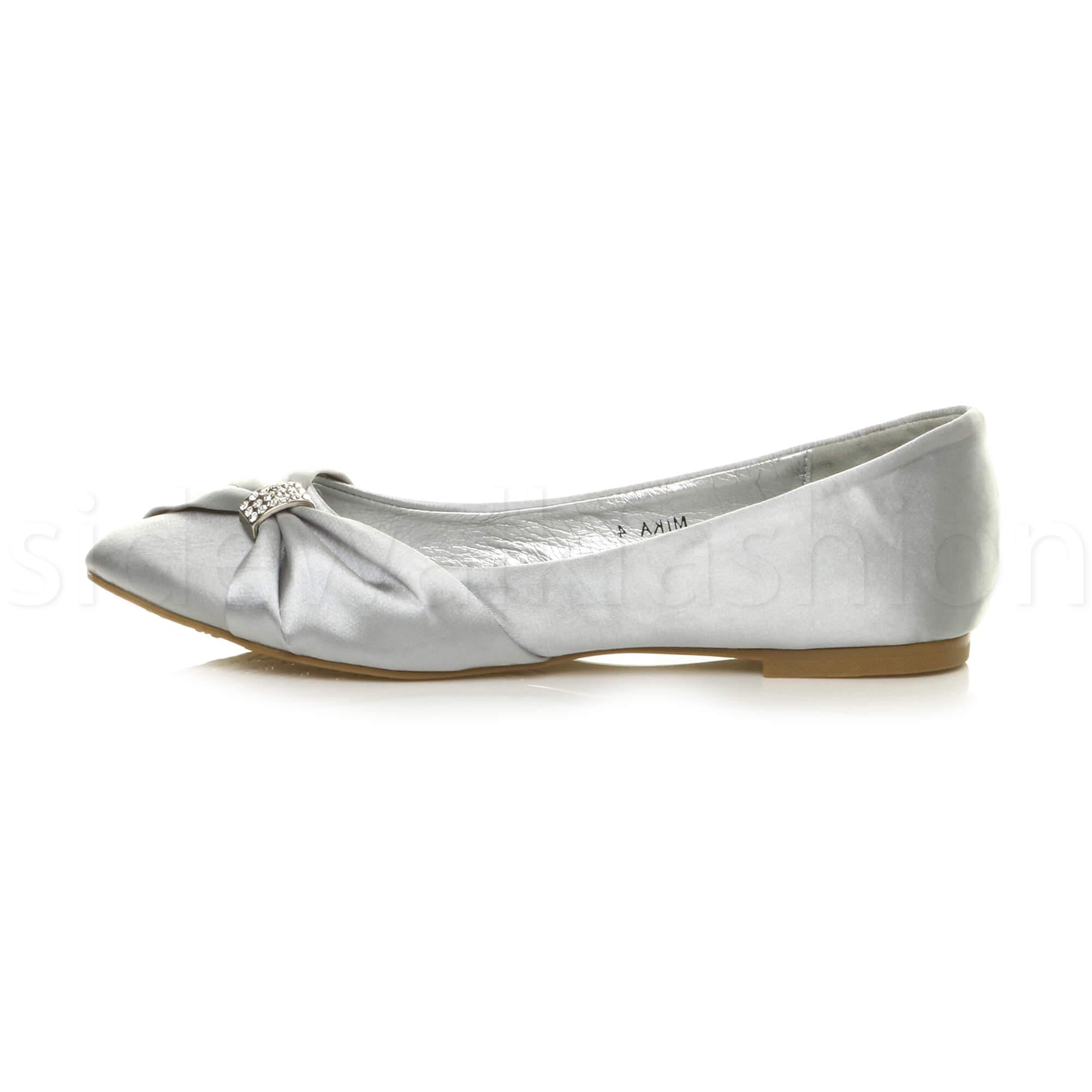 Womens-ladies-flat-wedding-bridesmaid-ruched-diamante-bridal-shoes-pumps-size thumbnail 27
