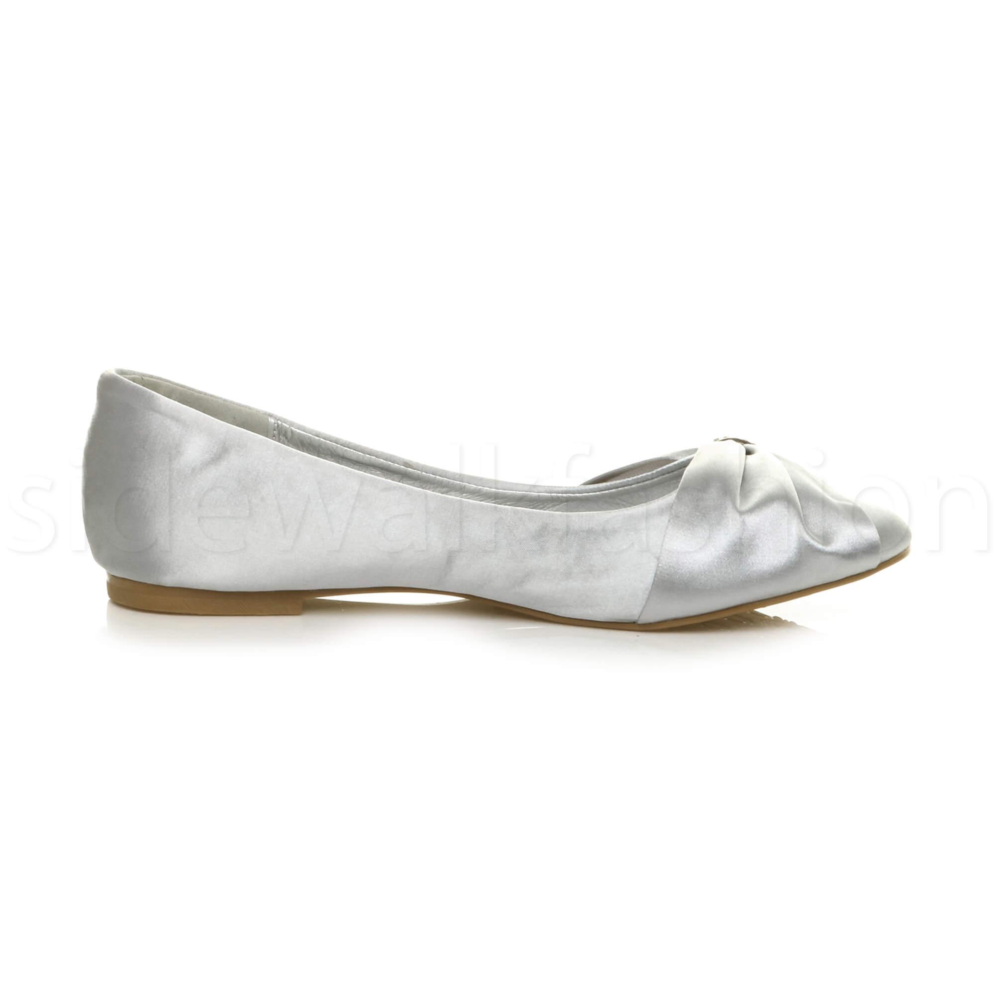 Womens-ladies-flat-wedding-bridesmaid-ruched-diamante-bridal-shoes-pumps-size thumbnail 28