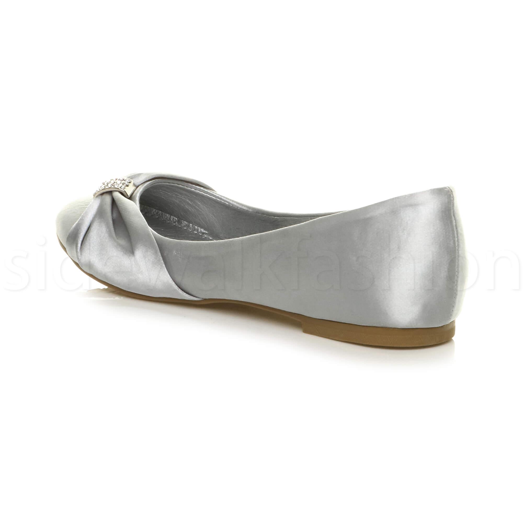 Womens-ladies-flat-wedding-bridesmaid-ruched-diamante-bridal-shoes-pumps-size thumbnail 29