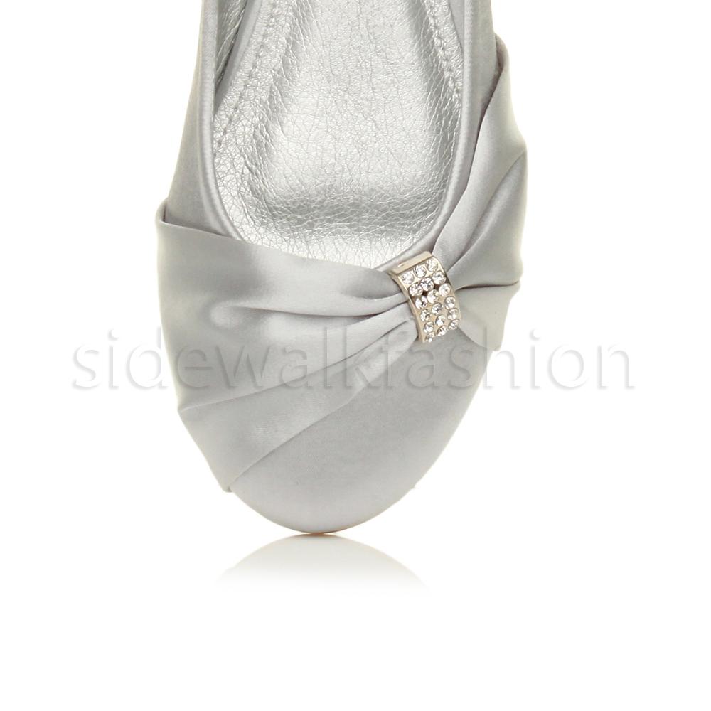 Womens-ladies-flat-wedding-bridesmaid-ruched-diamante-bridal-shoes-pumps-size thumbnail 30