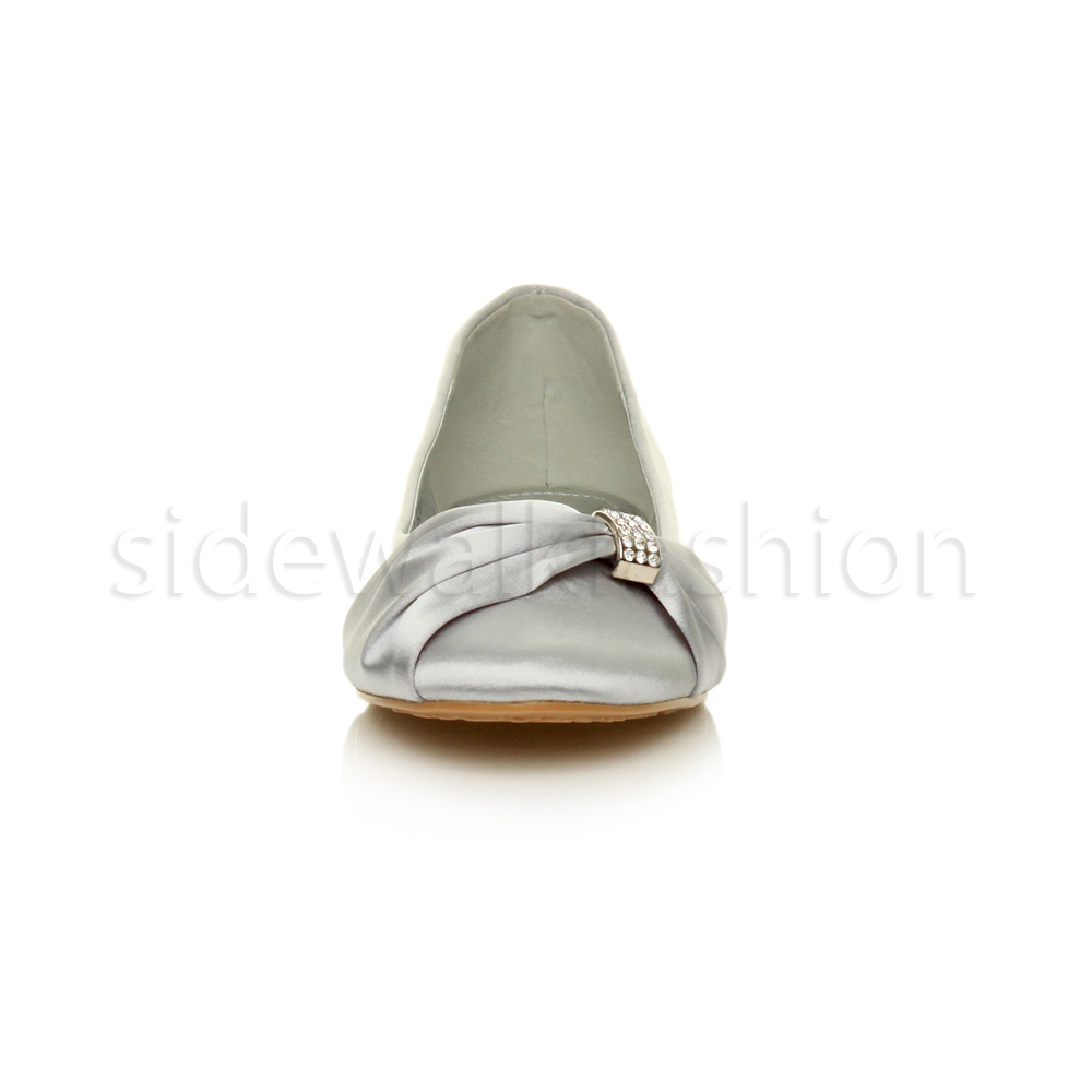 Womens-ladies-flat-wedding-bridesmaid-ruched-diamante-bridal-shoes-pumps-size thumbnail 31