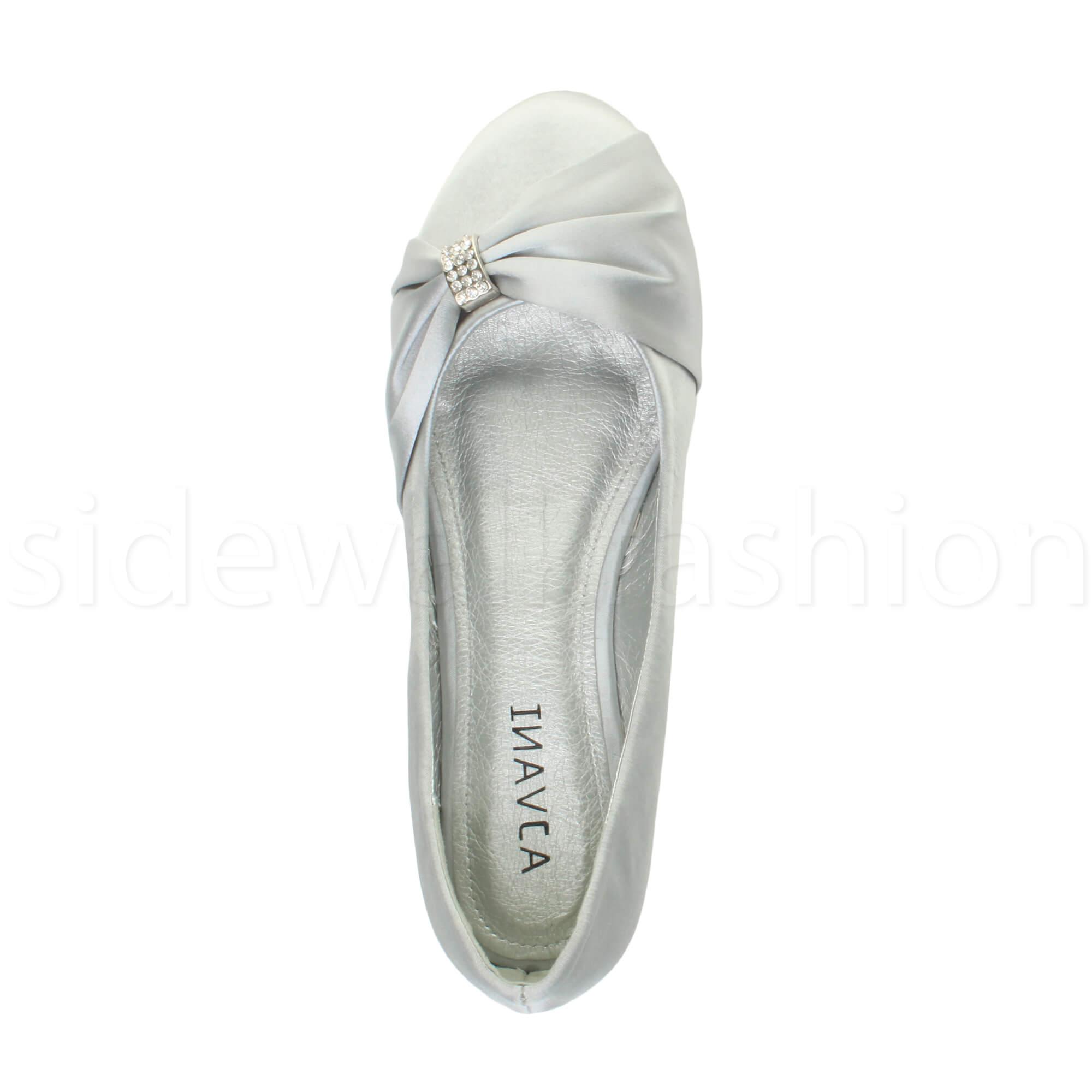 Womens-ladies-flat-wedding-bridesmaid-ruched-diamante-bridal-shoes-pumps-size thumbnail 32