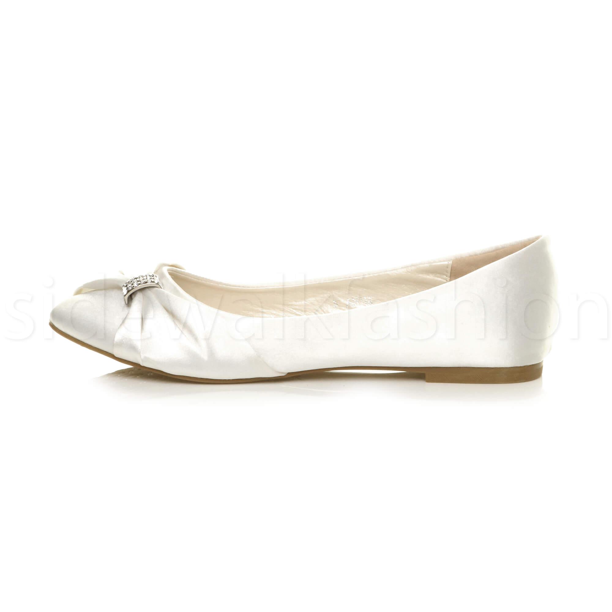 Womens-ladies-flat-wedding-bridesmaid-ruched-diamante-bridal-shoes-pumps-size thumbnail 35