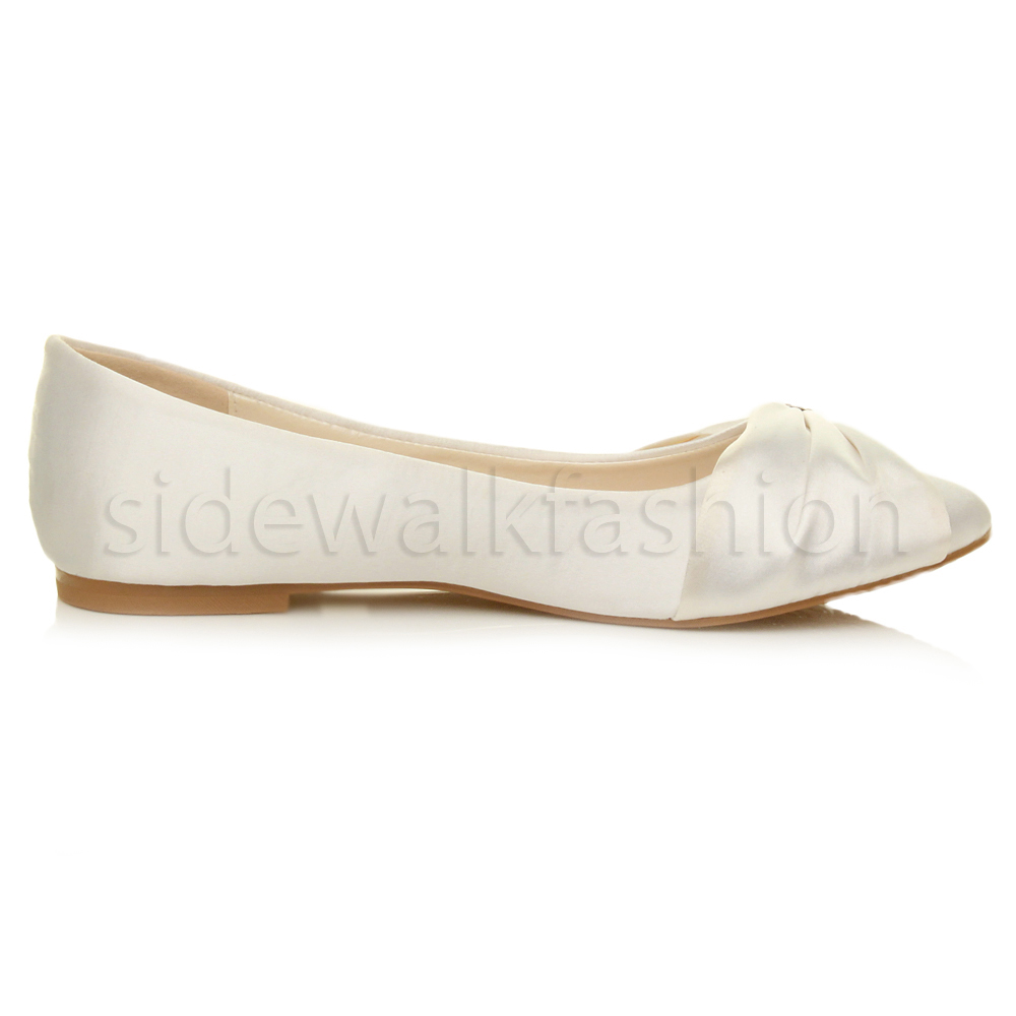 Womens-ladies-flat-wedding-bridesmaid-ruched-diamante-bridal-shoes-pumps-size thumbnail 36