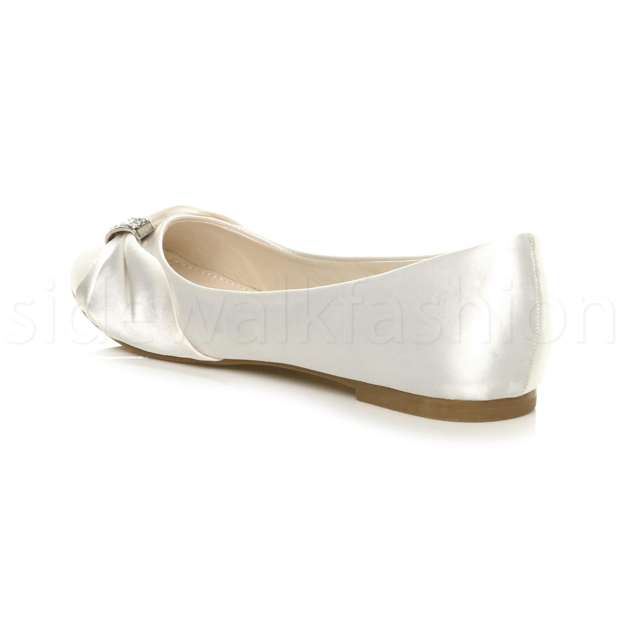 Womens-ladies-flat-wedding-bridesmaid-ruched-diamante-bridal-shoes-pumps-size thumbnail 37