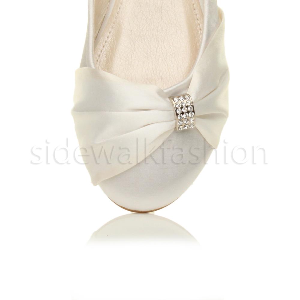 Womens-ladies-flat-wedding-bridesmaid-ruched-diamante-bridal-shoes-pumps-size thumbnail 38