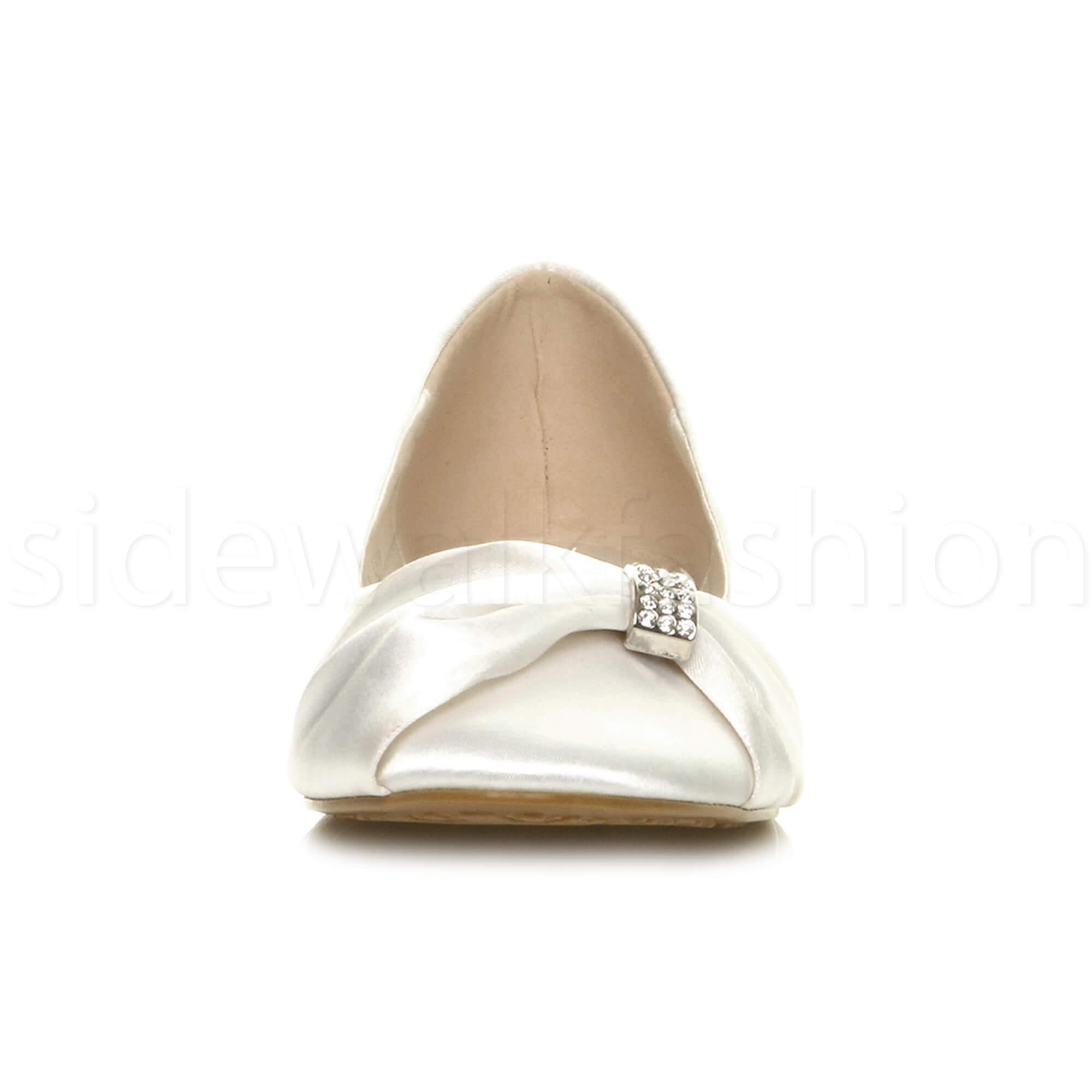 Womens-ladies-flat-wedding-bridesmaid-ruched-diamante-bridal-shoes-pumps-size thumbnail 39
