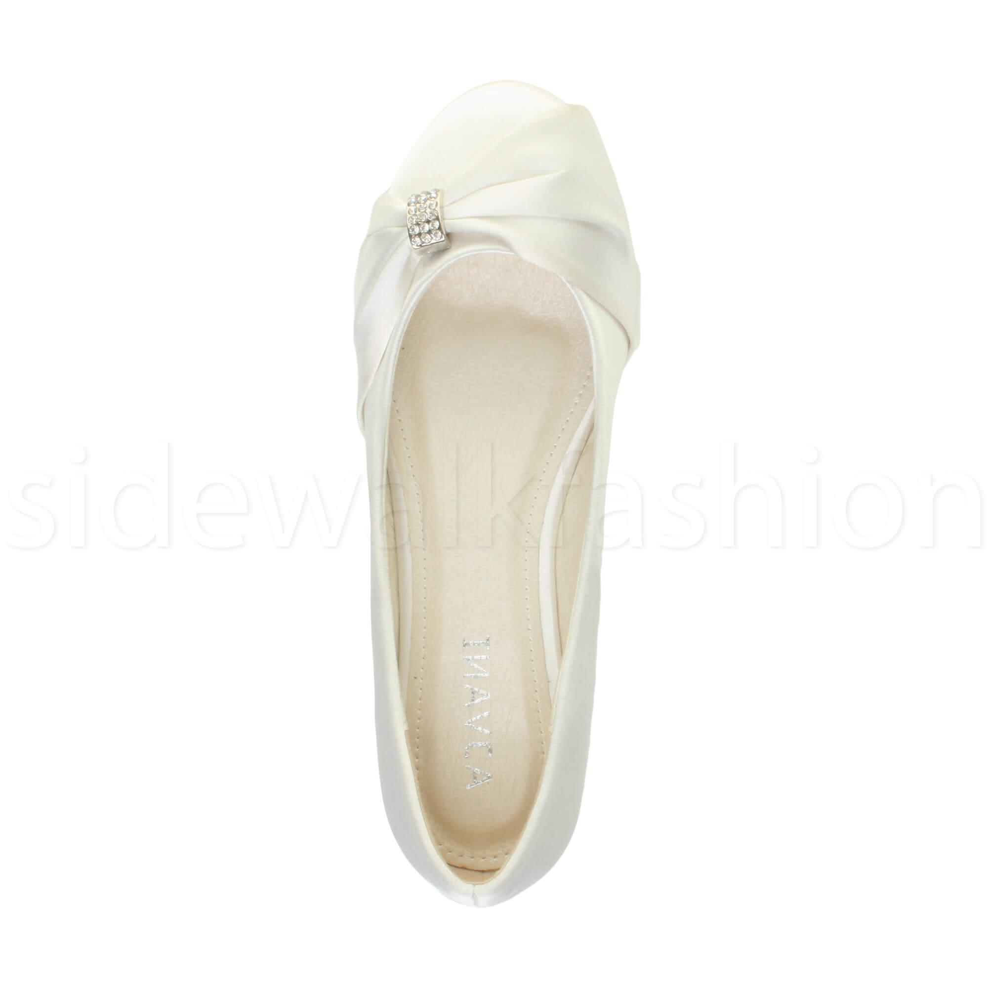 Womens-ladies-flat-wedding-bridesmaid-ruched-diamante-bridal-shoes-pumps-size thumbnail 40