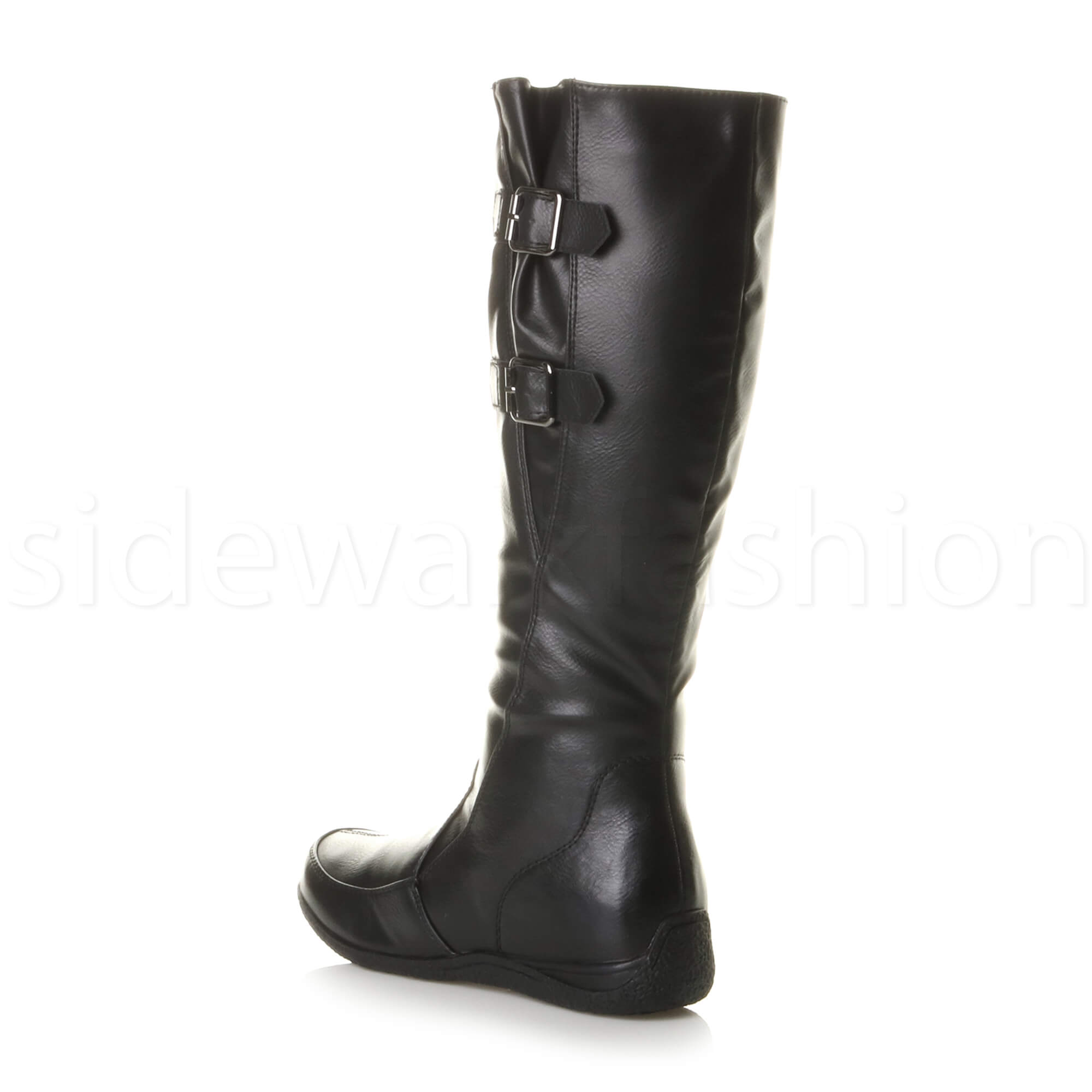 Womens-ladies-low-concealed-wedge-buckle-zip-casual-adjustable-calf-boots-size