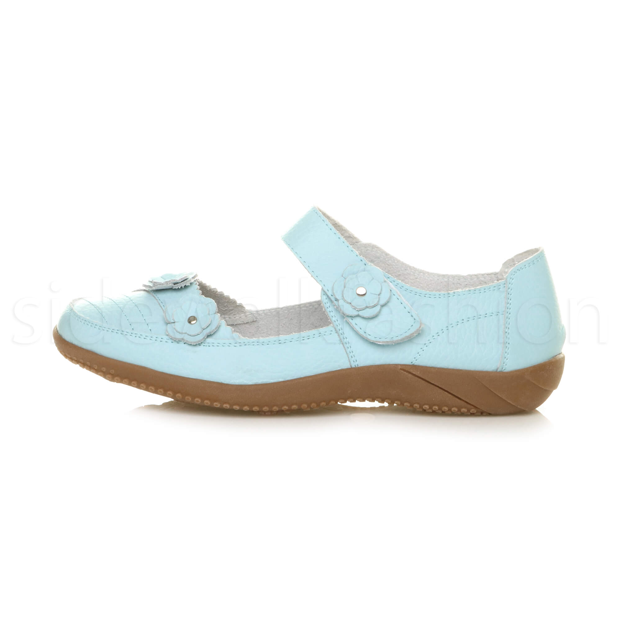 Womens-ladies-leather-comfort-walking-casual-sandals-mary-jane-strap-shoes-size thumbnail 48