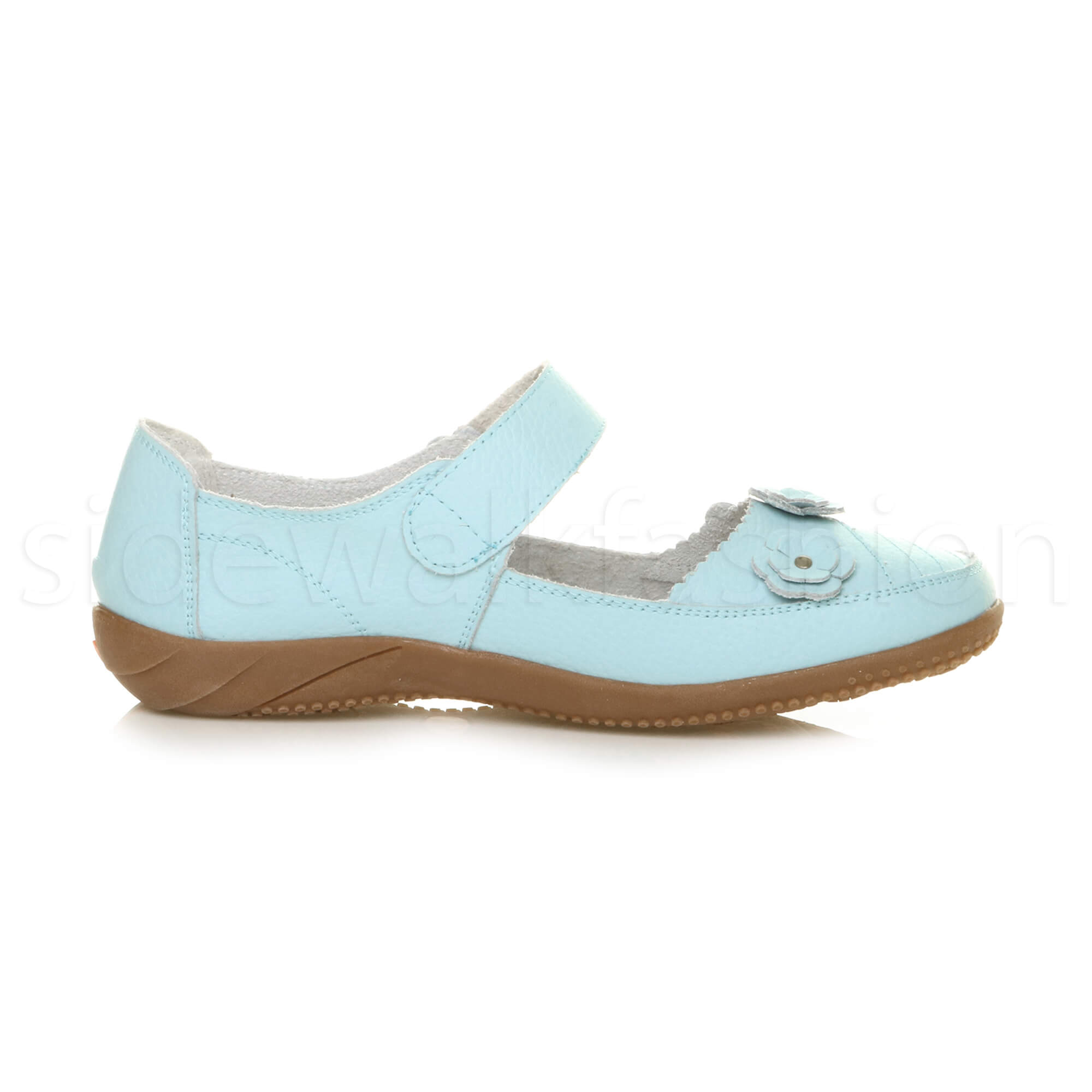 Womens-ladies-leather-comfort-walking-casual-sandals-mary-jane-strap-shoes-size thumbnail 49