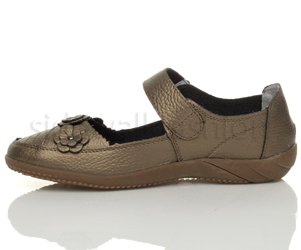 Womens-ladies-leather-comfort-walking-casual-sandals-mary-jane-strap-shoes-size thumbnail 29