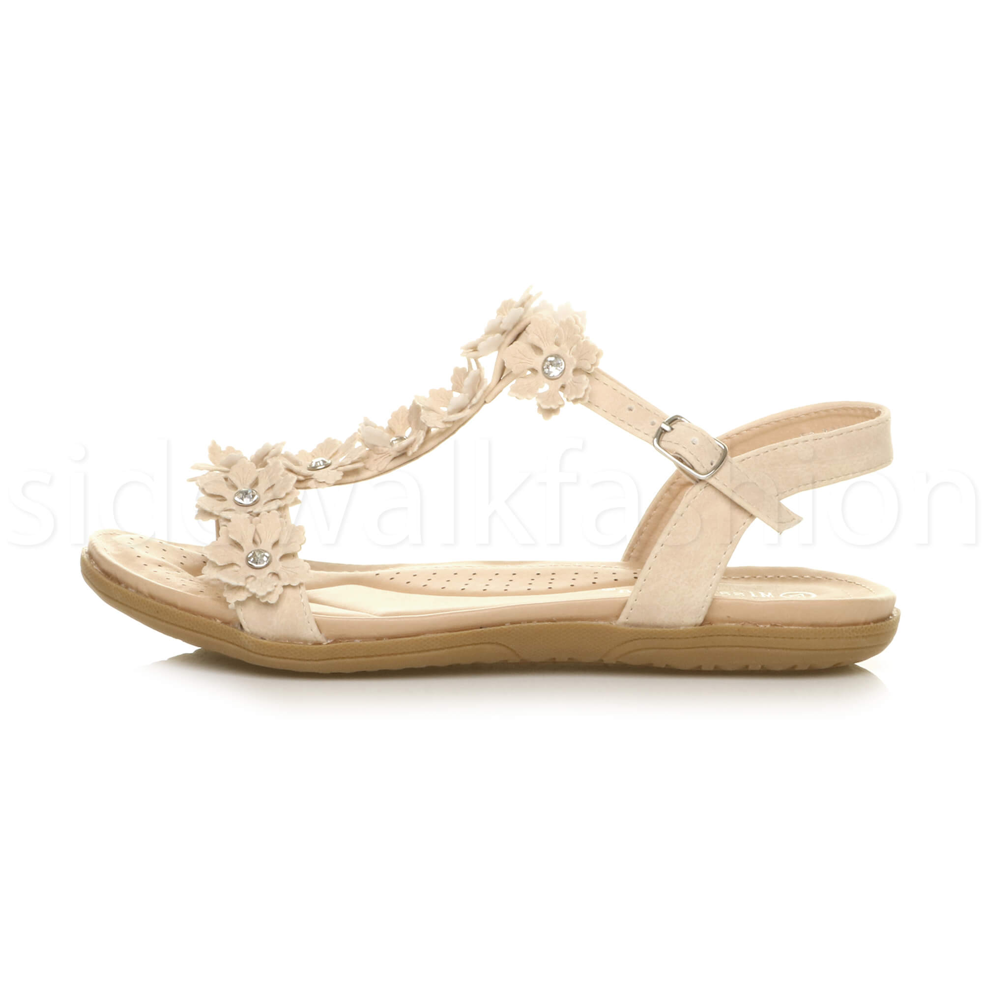 WOMENS LADIES FLAT LOW GRIP DIAMANTE SLING BACK SUMMER SANDALS SIZE CUSHIONED