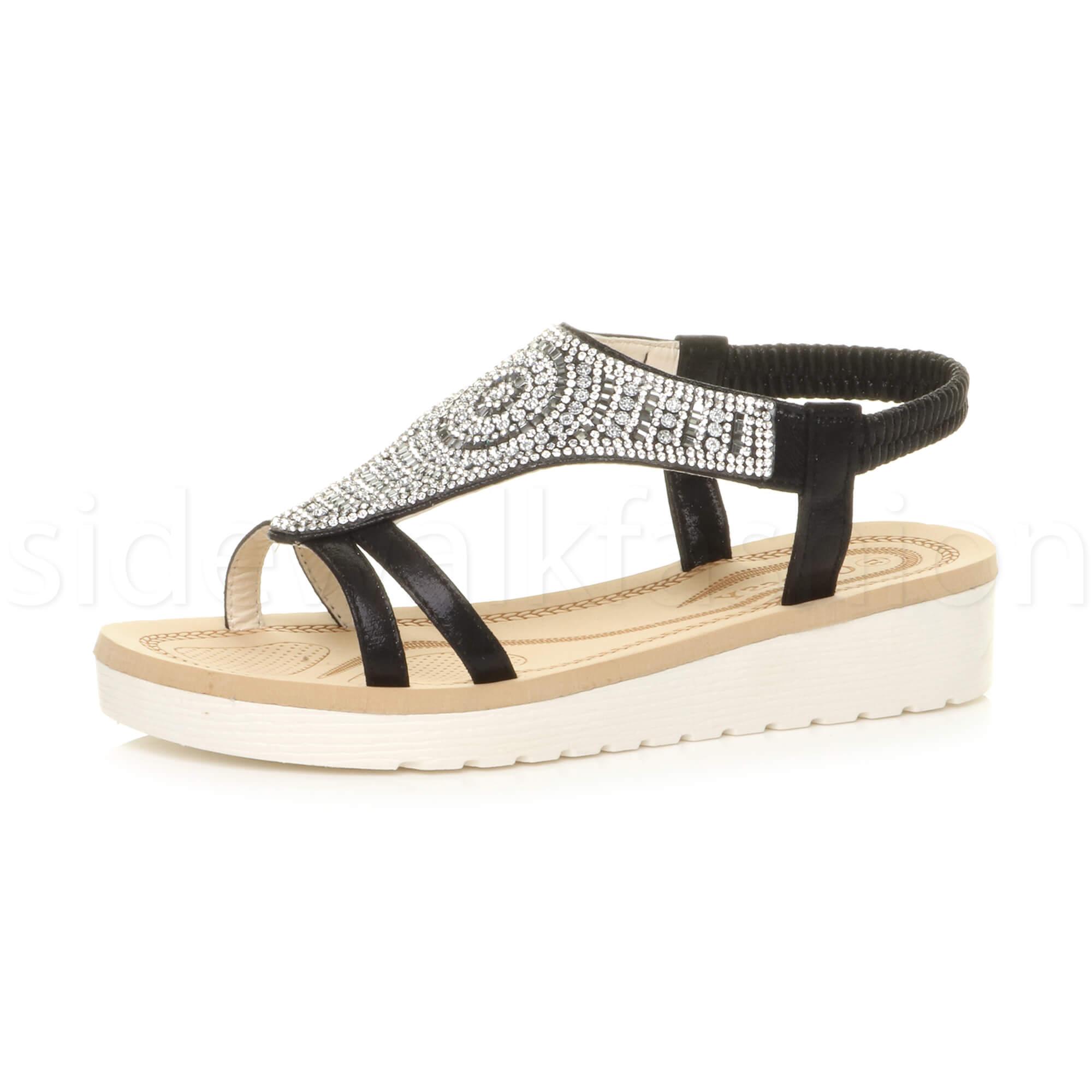 Details about Womens ladies flatform low heel wedge t bar diamante slingback sandals shoes