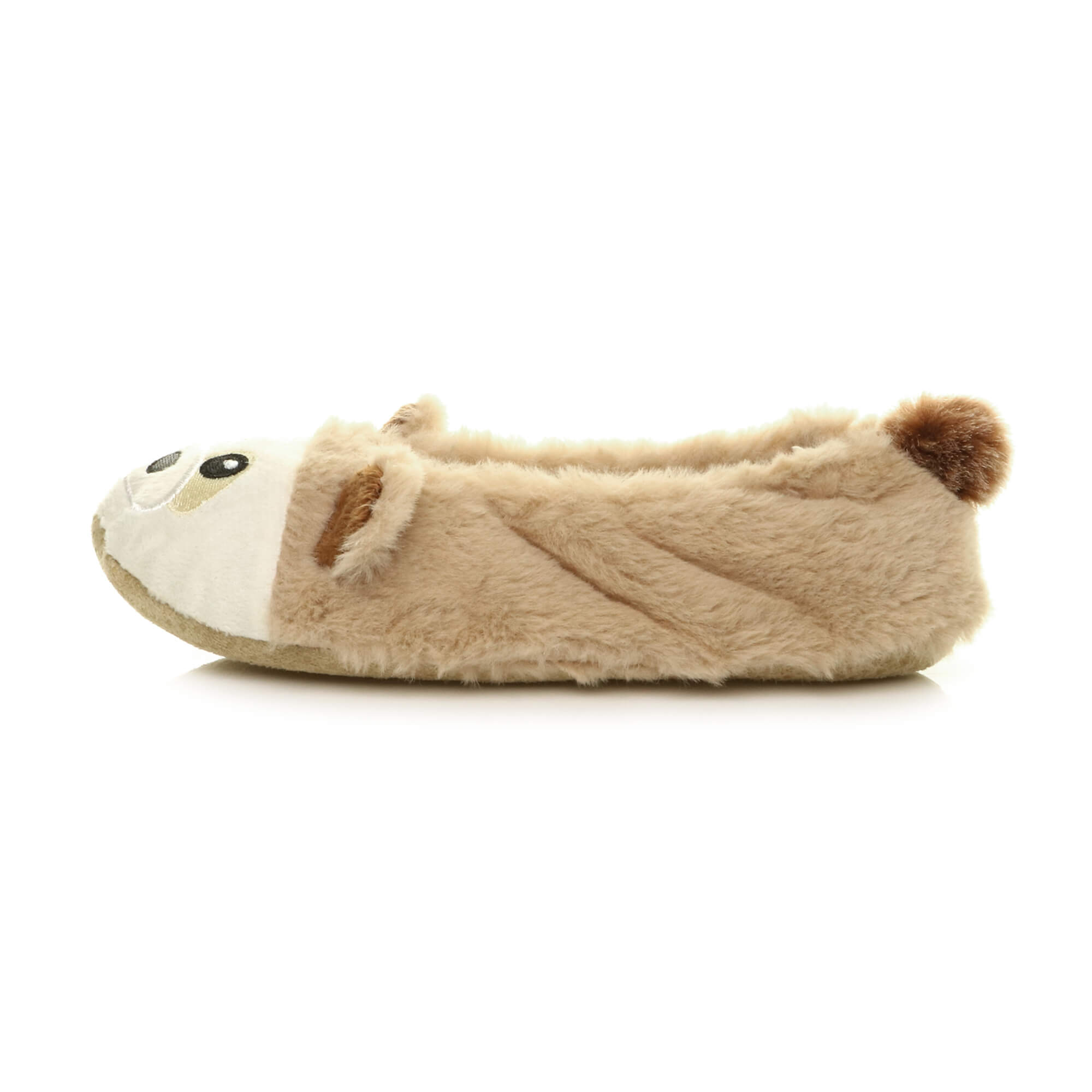Womens-ladies-raccoon-bear-face-novelty-gift-elastic-slip-on-slippers-socks-size thumbnail 11