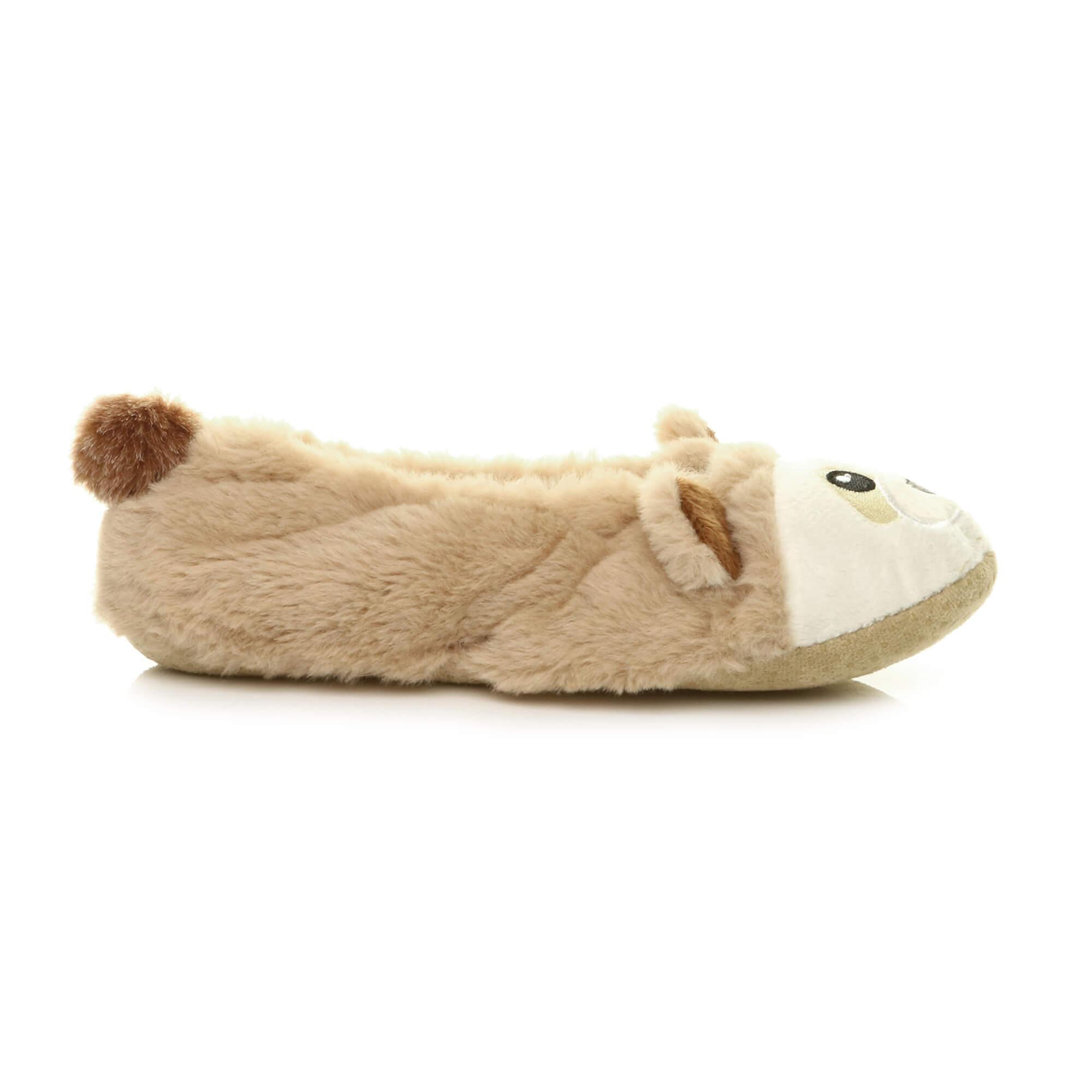 Womens-ladies-raccoon-bear-face-novelty-gift-elastic-slip-on-slippers-socks-size thumbnail 12