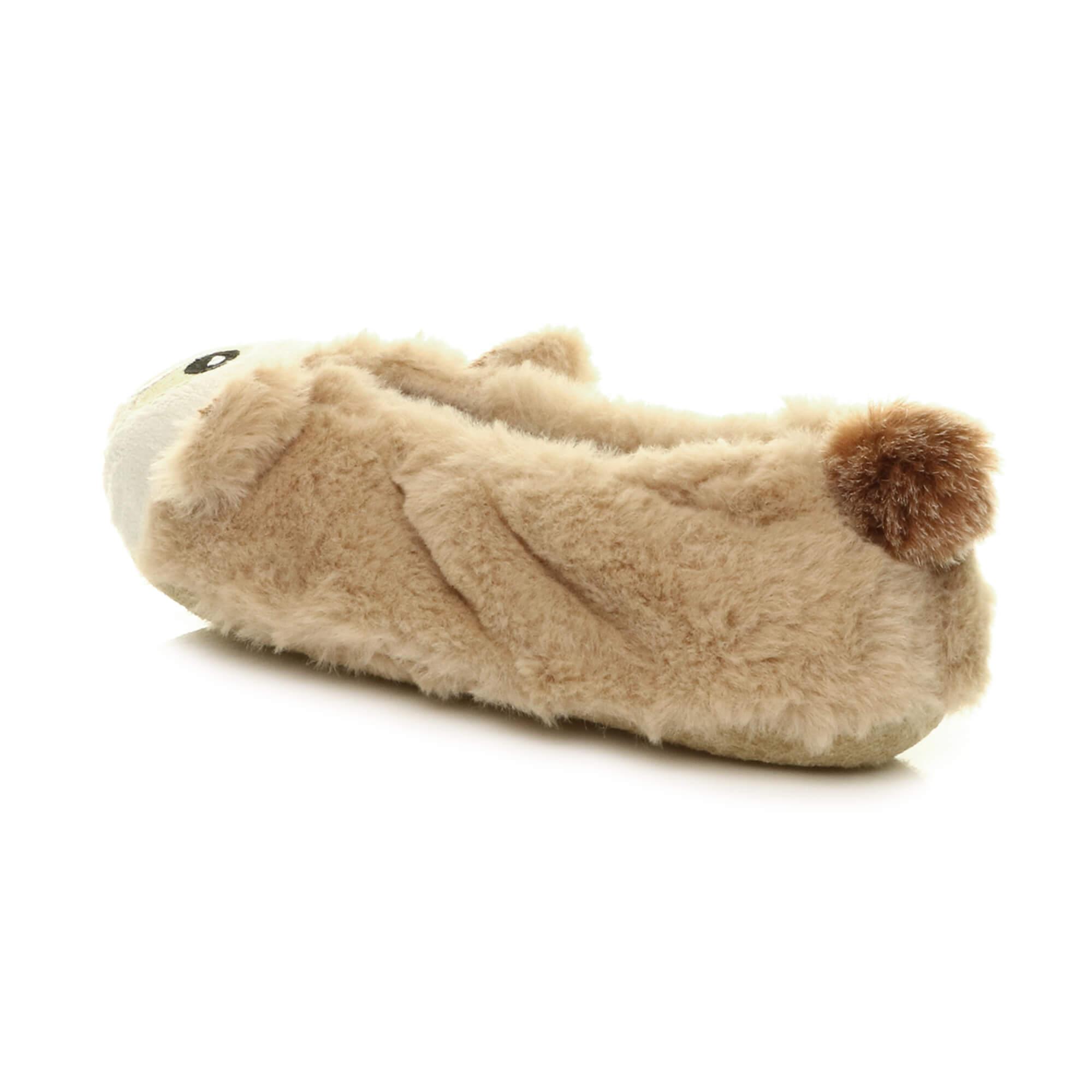 Womens-ladies-raccoon-bear-face-novelty-gift-elastic-slip-on-slippers-socks-size thumbnail 13