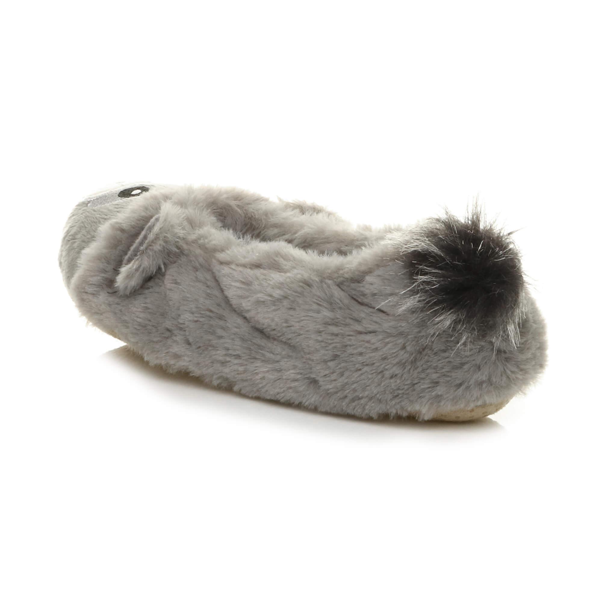 Womens-ladies-raccoon-bear-face-novelty-gift-elastic-slip-on-slippers-socks-size thumbnail 37