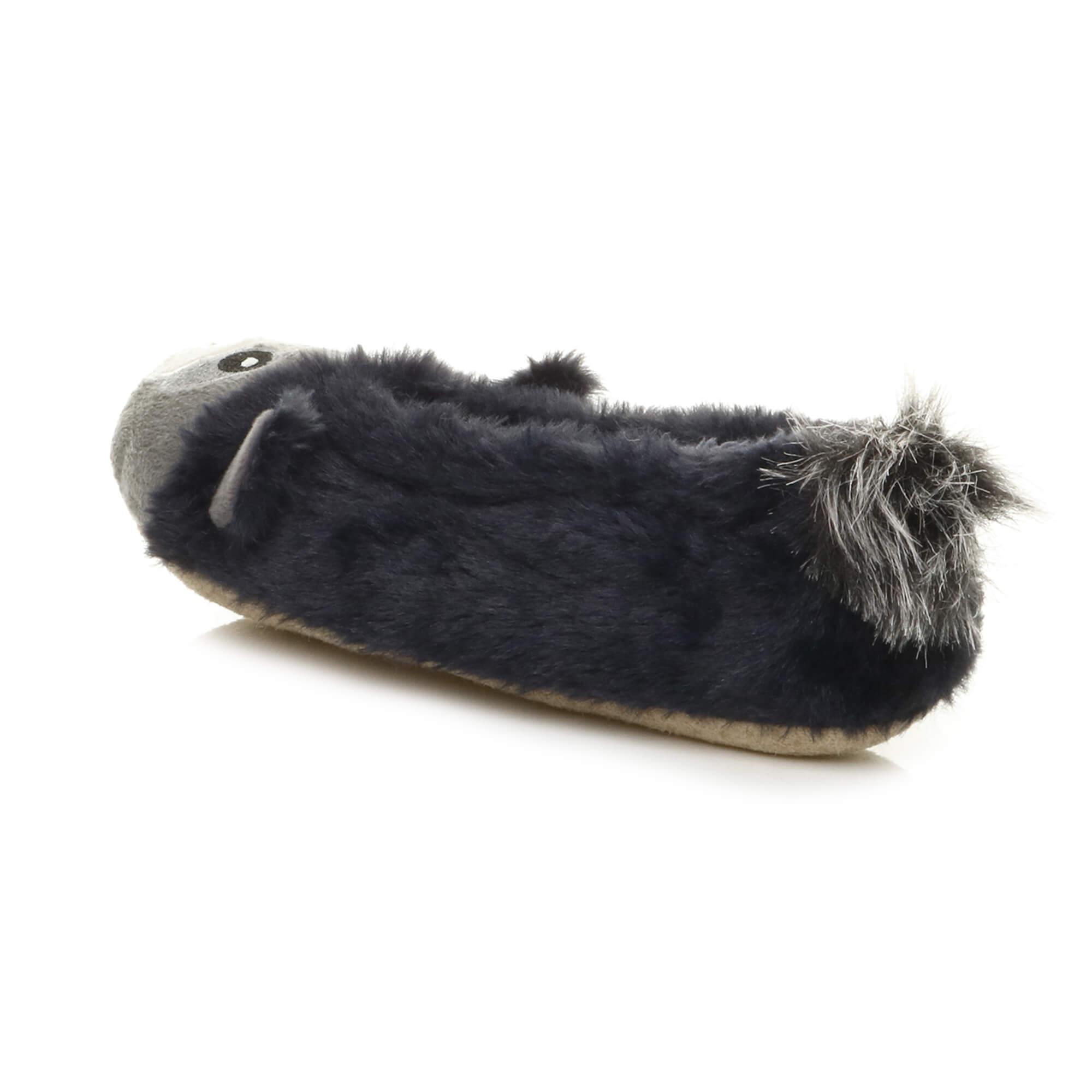 Womens-ladies-raccoon-bear-face-novelty-gift-elastic-slip-on-slippers-socks-size thumbnail 45