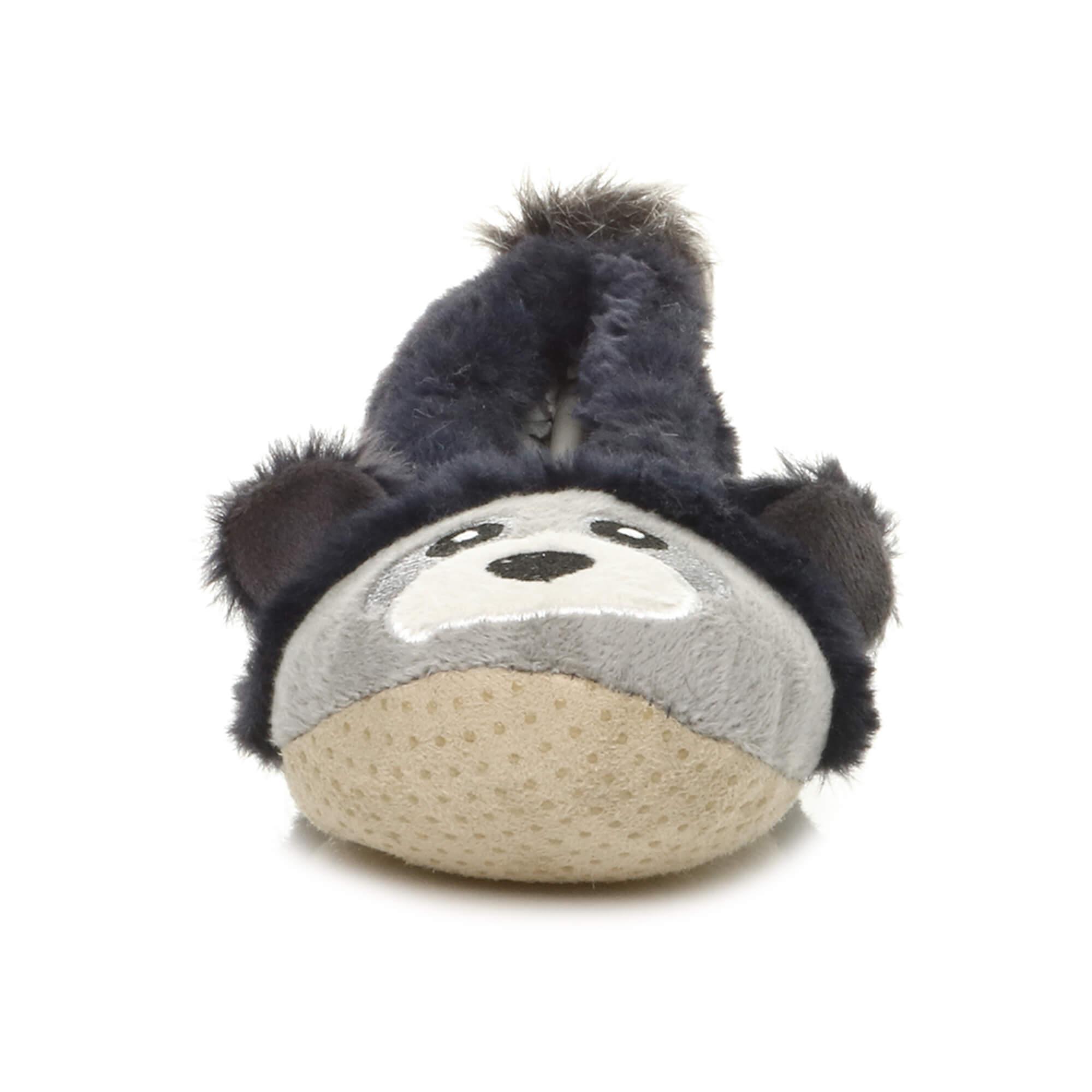 Womens-ladies-raccoon-bear-face-novelty-gift-elastic-slip-on-slippers-socks-size thumbnail 47