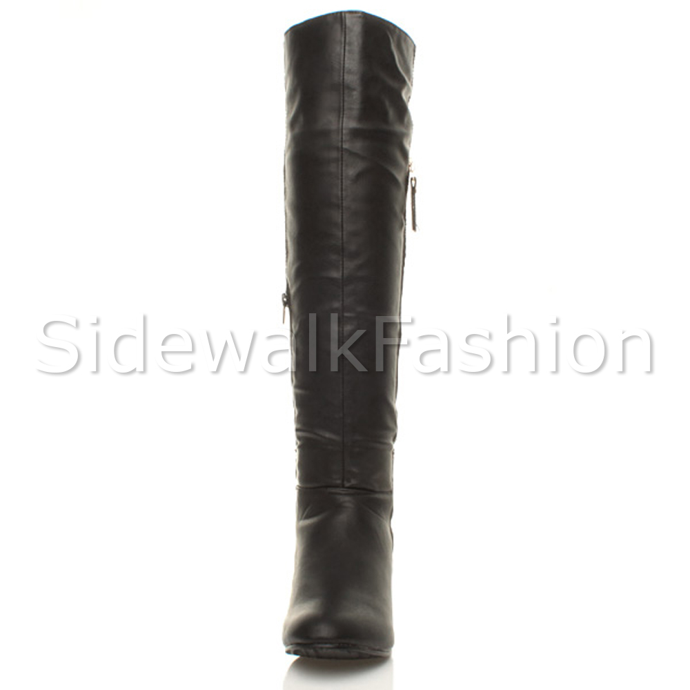 Womens-ladies-low-mid-heel-concealed-wedge-smart-over-the-knee-high-boots-size