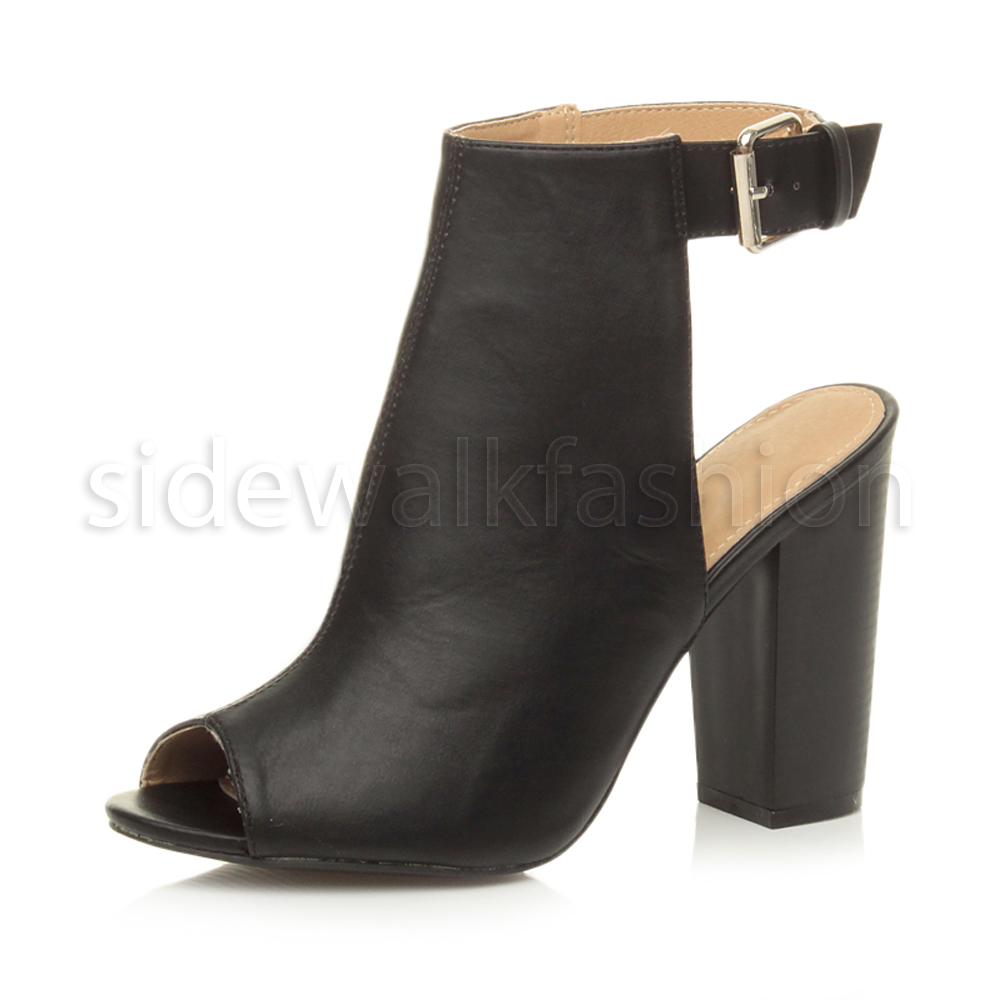 womens ladies high block heel peep toe open back ankle strap cut out boots size ebay. Black Bedroom Furniture Sets. Home Design Ideas