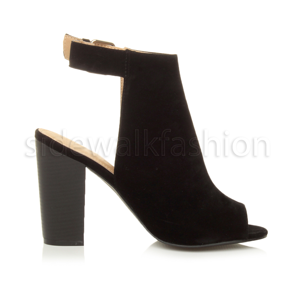 4a4e119db1b45 Boohoo Black Suede PEEP Toe Open Back Block Heel BOOTS 5. About this  product. Picture 1 of 6  Picture 2 of 6  Picture 3 of 6  Picture 4 of 6