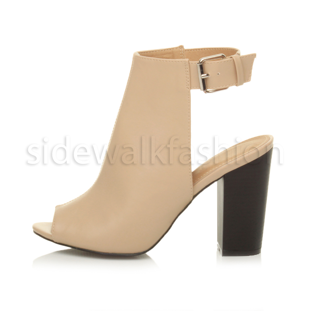 479e12912554 Womens ladies high block heel peep toe open back ankle strap cut out ...
