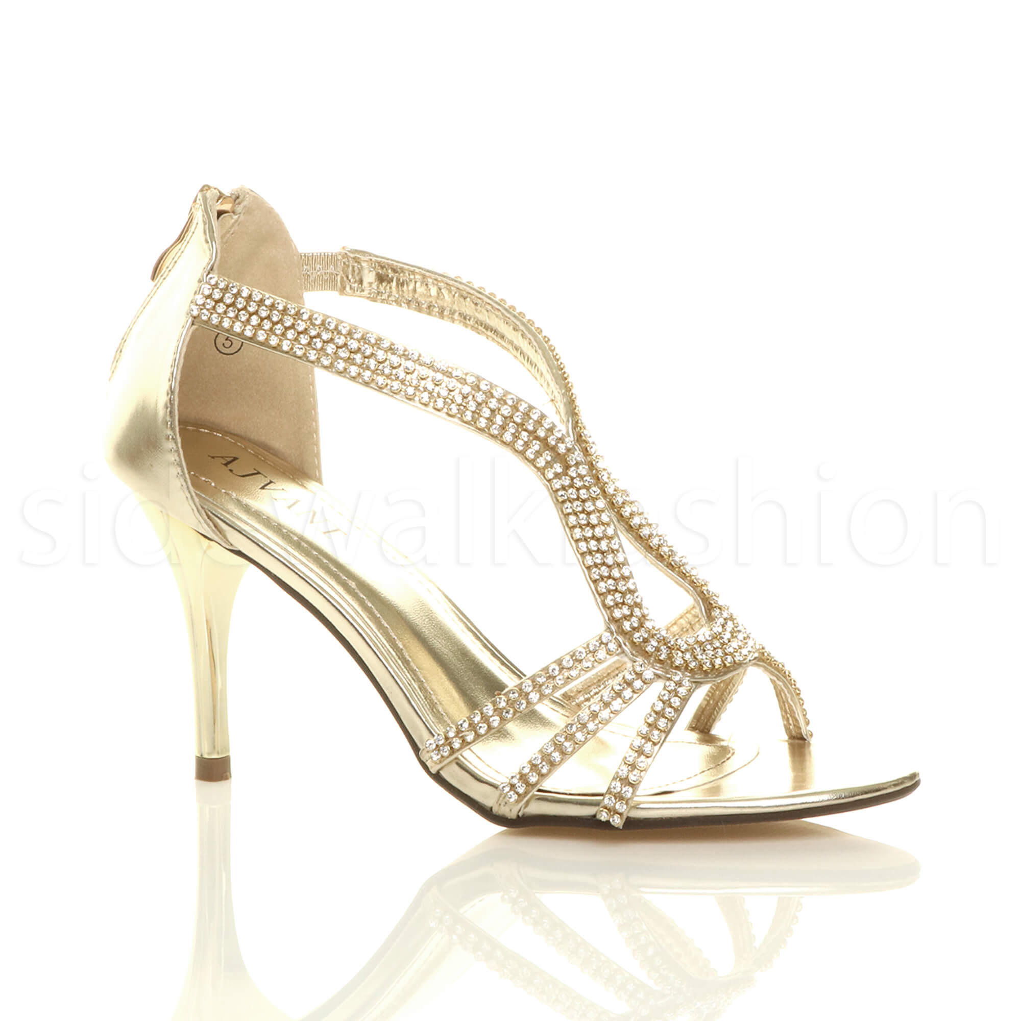 3a6480fa3182 Womens Ladies Stiletto Mid Heel Diamante Evening Prom Party Sandals Shoes  Size UK 3   EU 36   US 5 Gold. About this product. Picture 1 of 9  Picture  2 of 9 ...