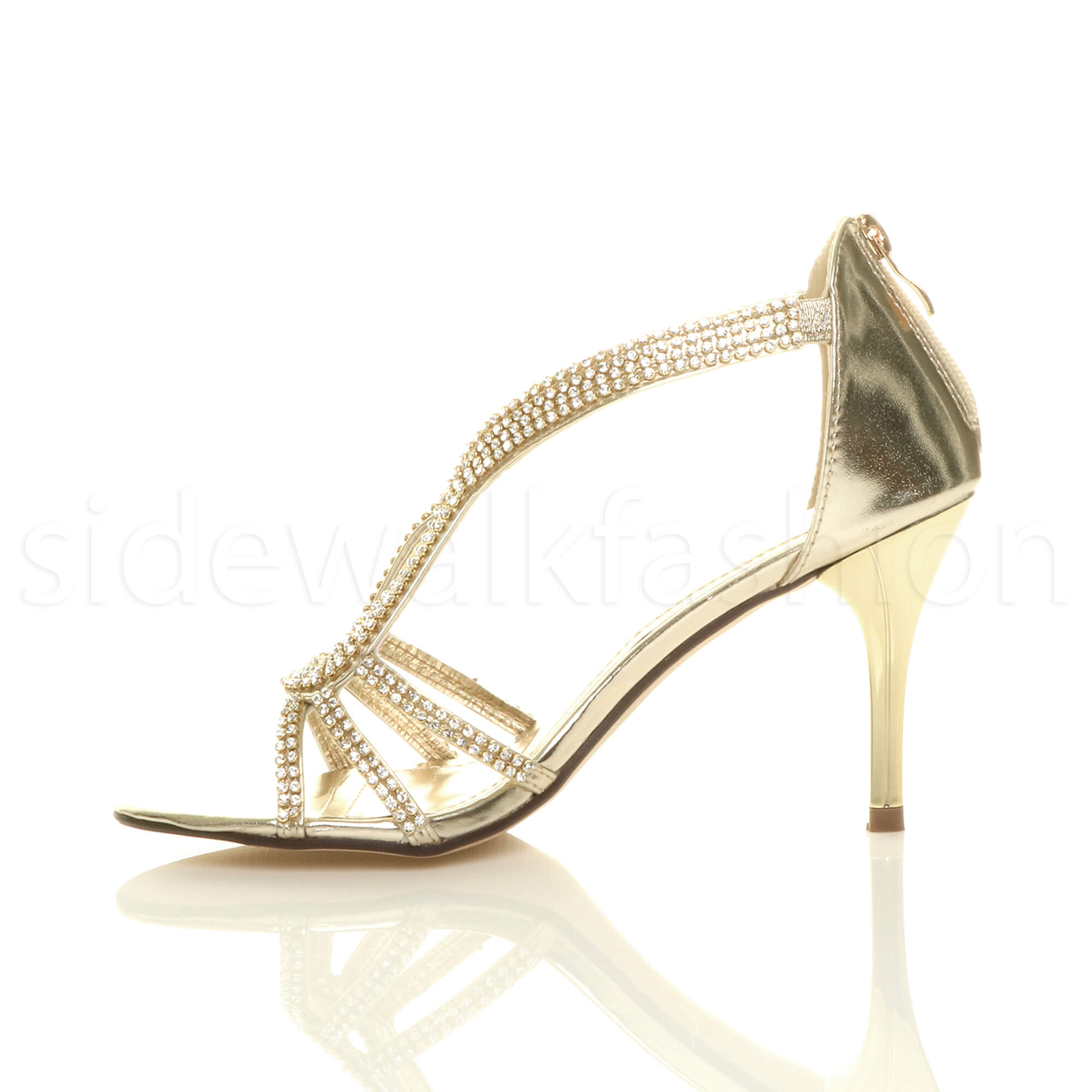 Womens-ladies-stiletto-mid-heel-bridal-sparkly-evening-prom-party-sandals-size thumbnail 12
